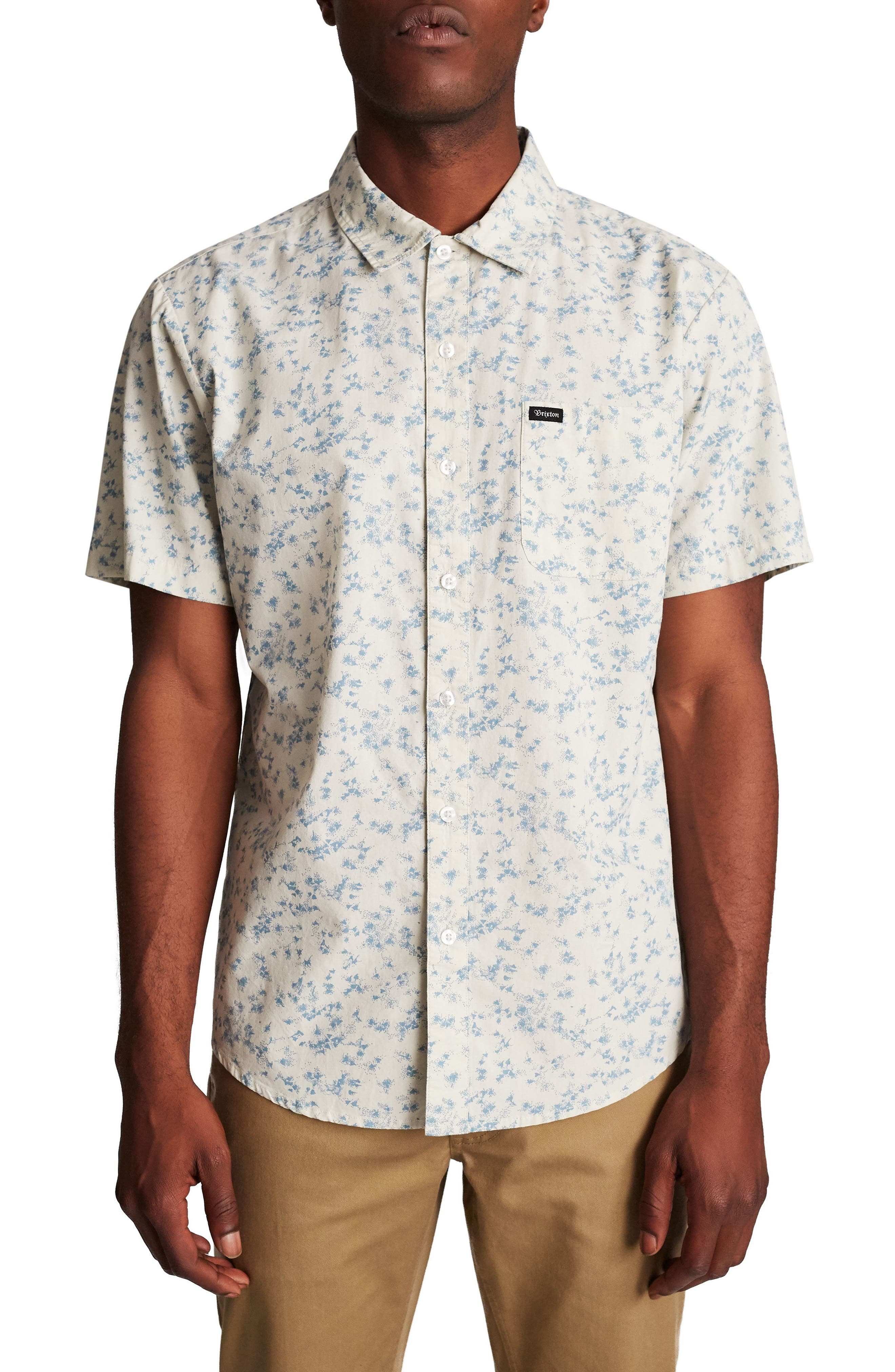 Charter Woven Shirt,                             Main thumbnail 1, color,                             Off White/ Dusty Blue