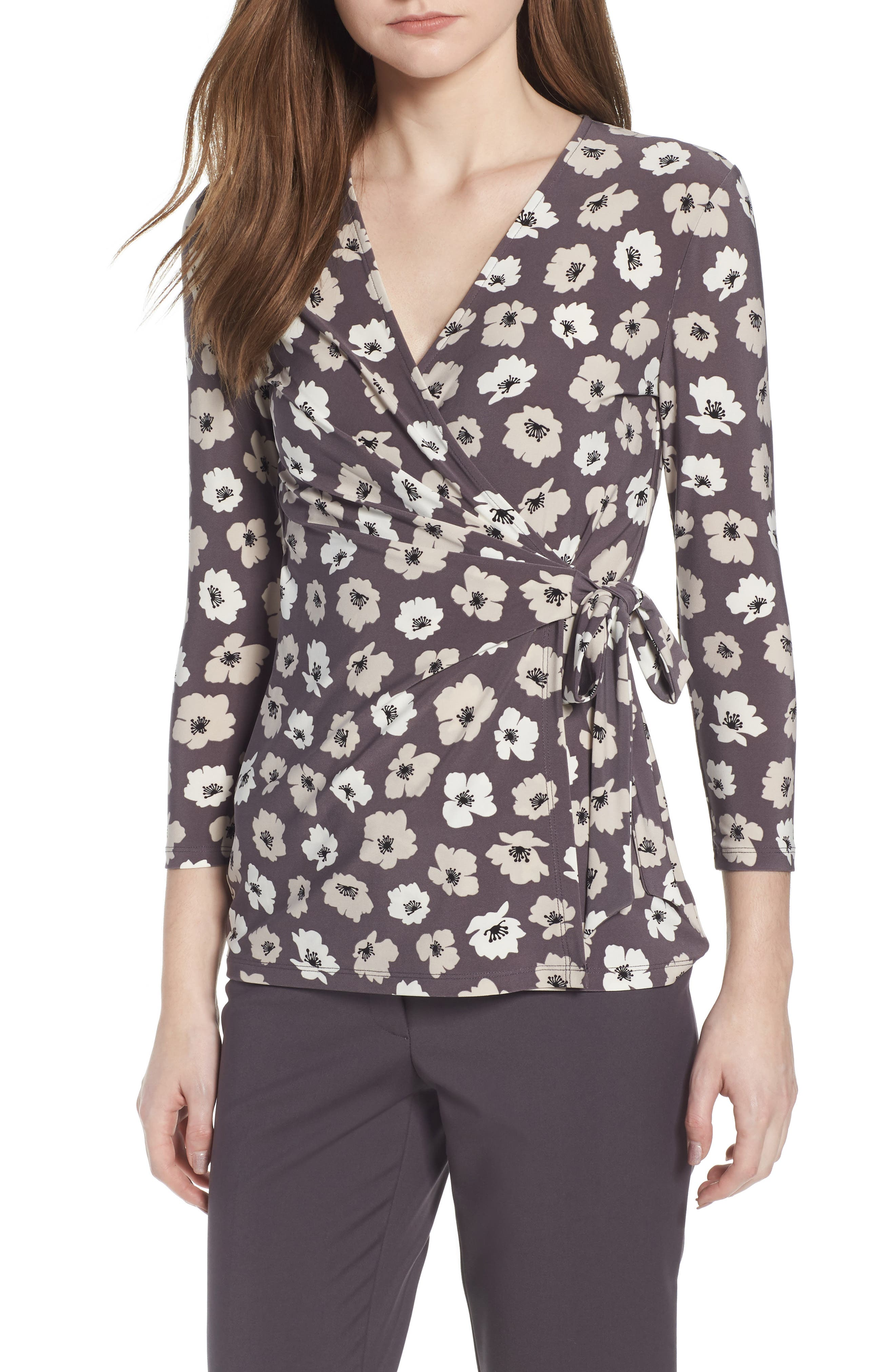 Faux Wrap Floral Top,                             Main thumbnail 1, color,                             Nantucket Grey/ Oyster Shell