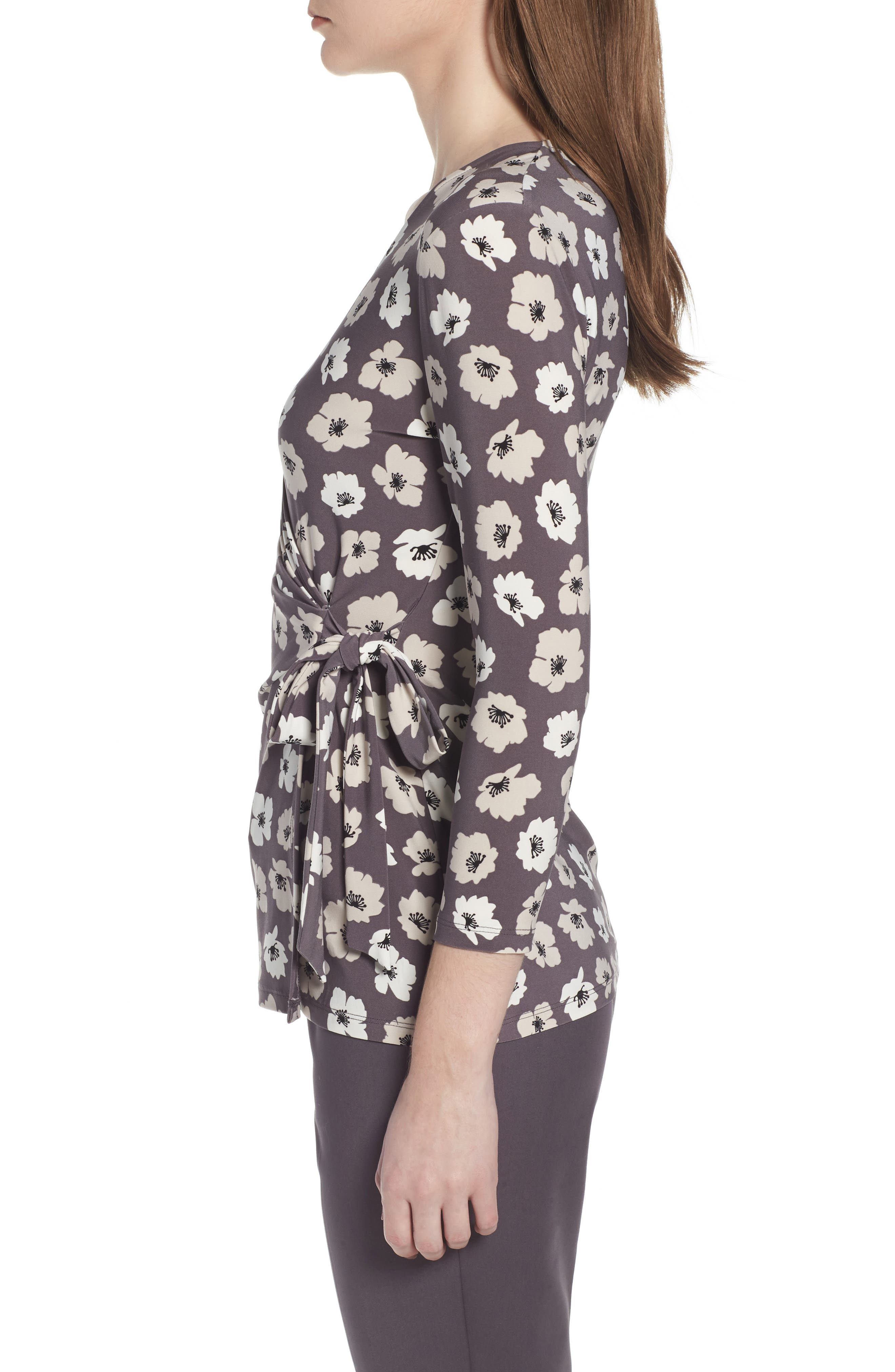 Faux Wrap Floral Top,                             Alternate thumbnail 3, color,                             Nantucket Grey/ Oyster Shell