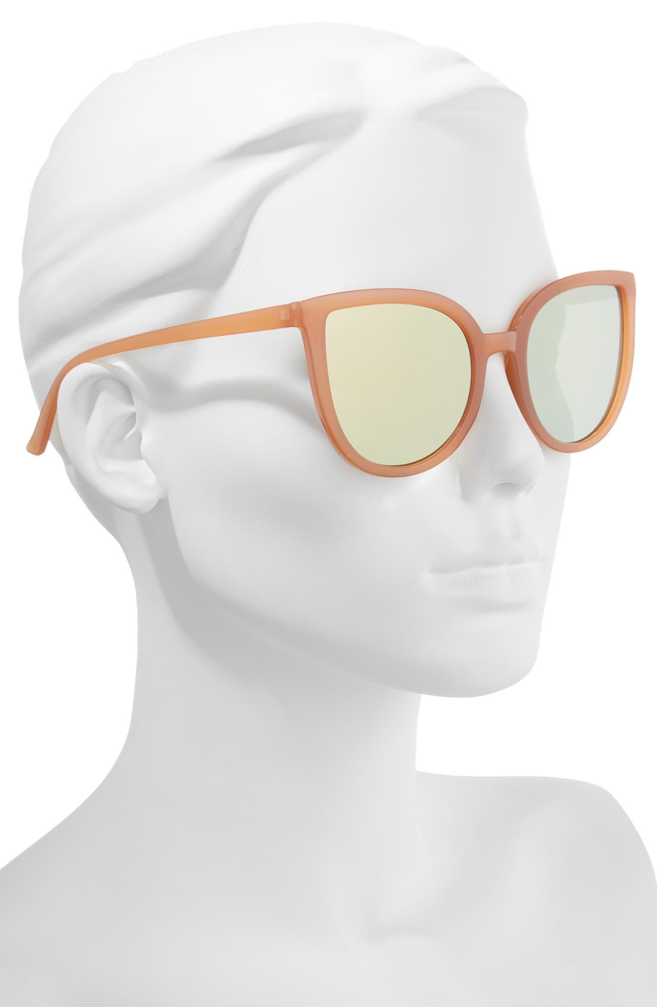 Thin Cat Eye Sunglasses,                             Alternate thumbnail 2, color,                             Milky Peach/ Gold