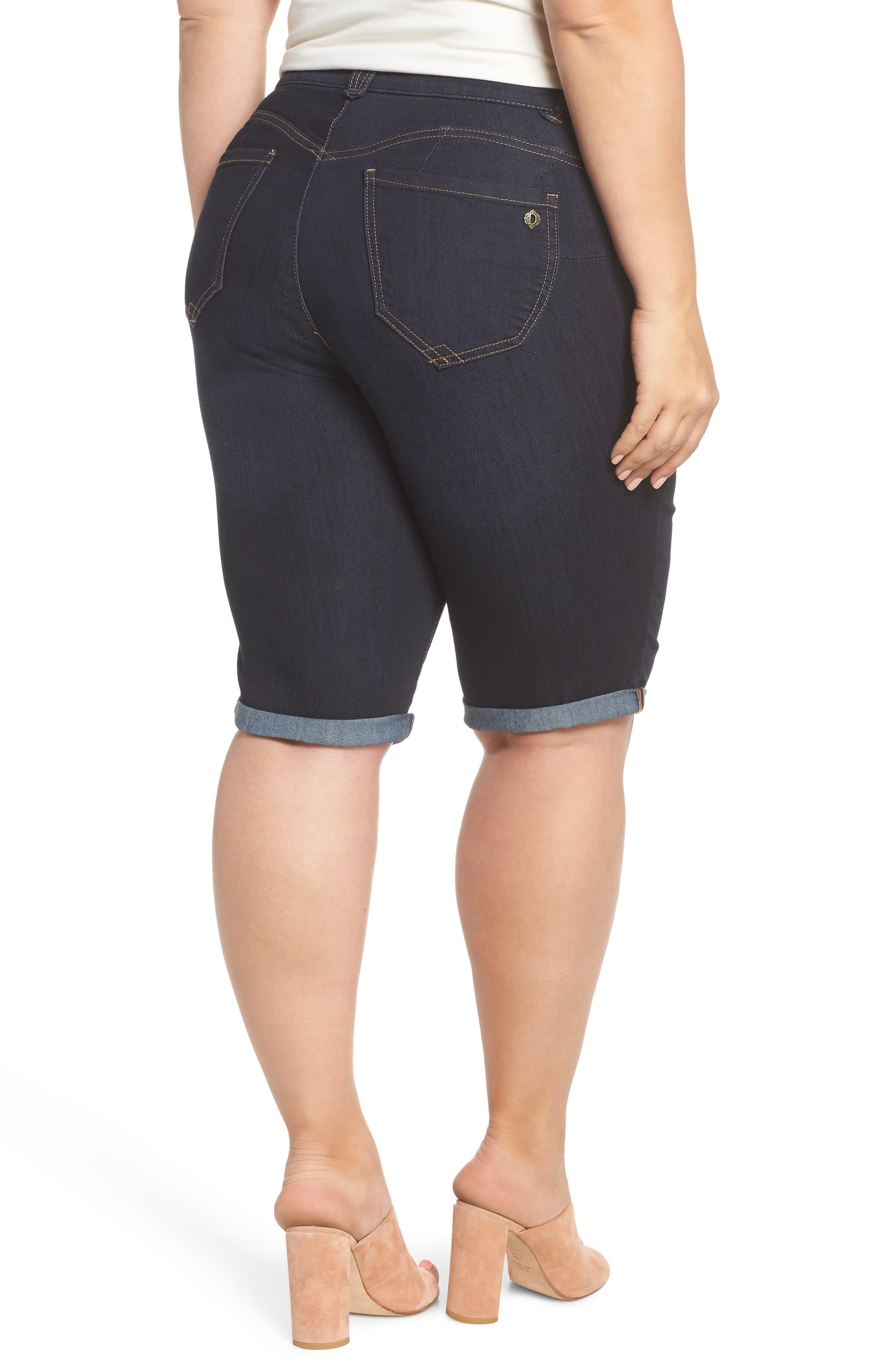 Stretch Denim Bermuda Shorts,                             Alternate thumbnail 2, color,                             Indigo