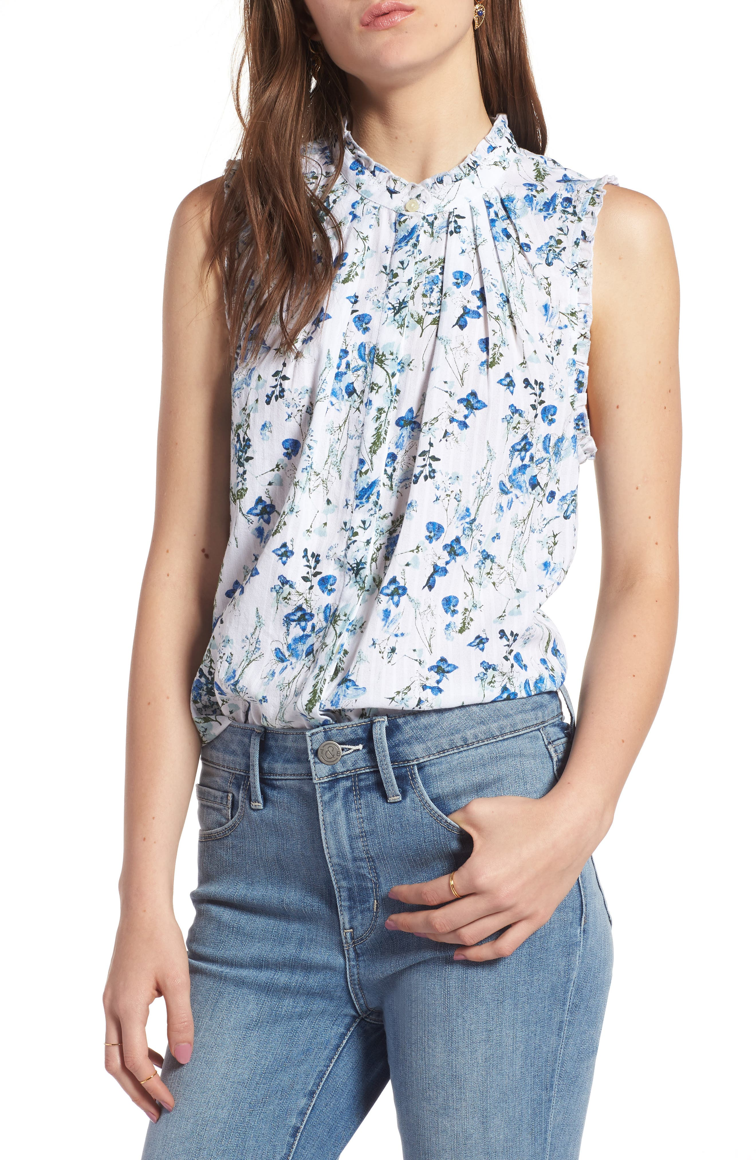 Pleat & Ruffle Top,                         Main,                         color, White Dried Flowers