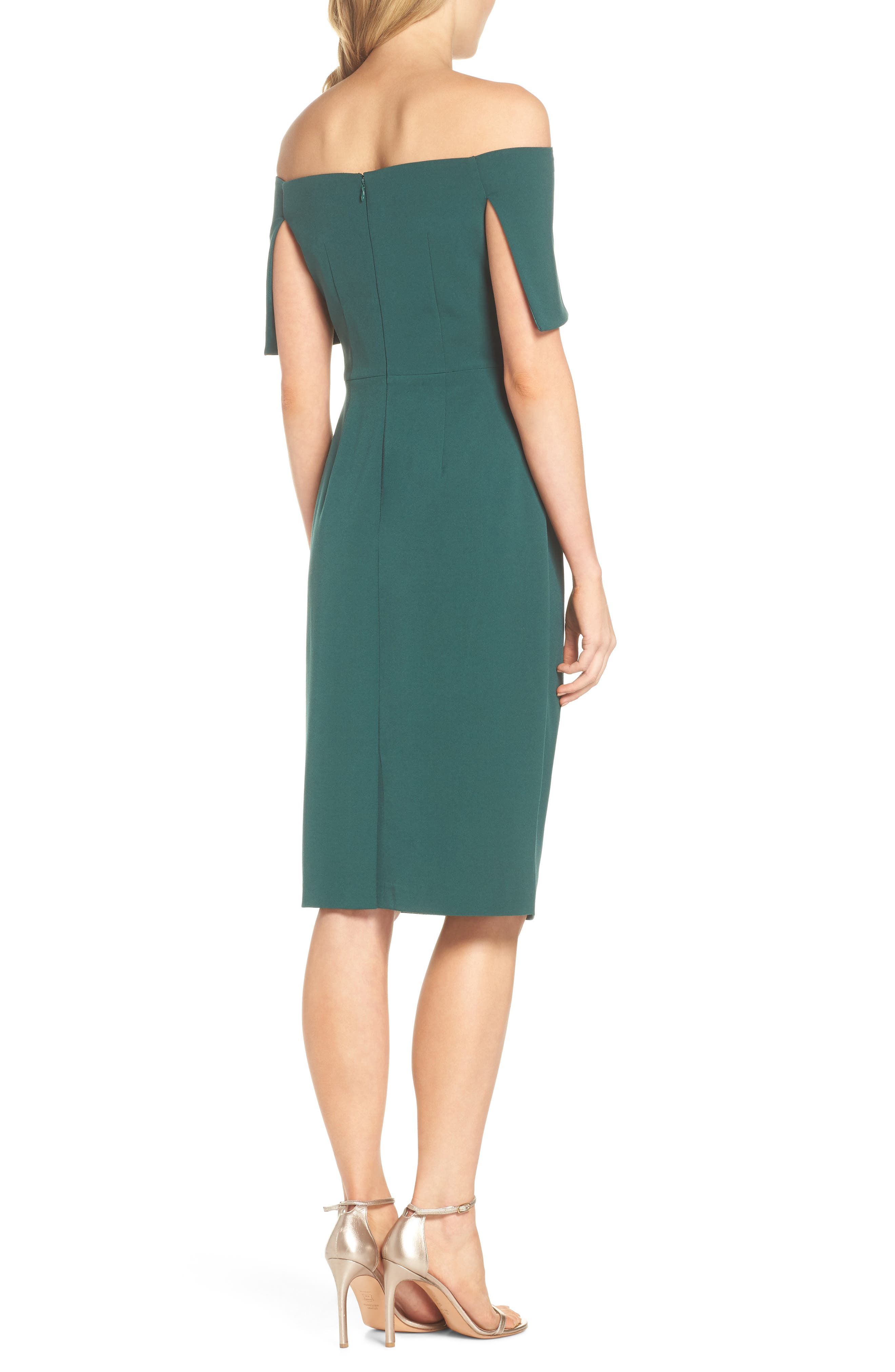 Popover Midi Dress,                             Alternate thumbnail 2, color,                             Emerald