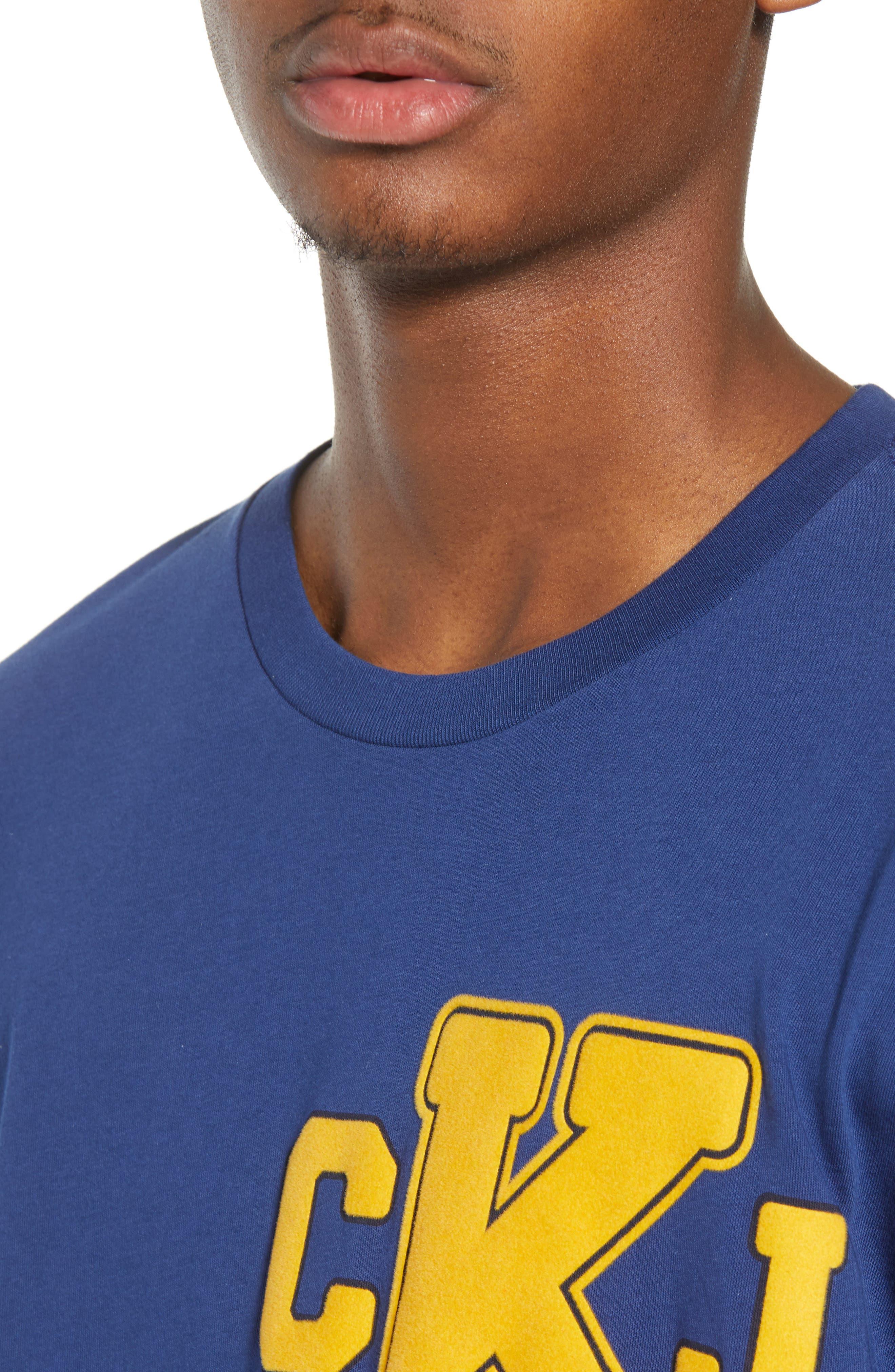 Calvin Klein Varsity T-Shirt,                             Alternate thumbnail 4, color,                             Ink Stone