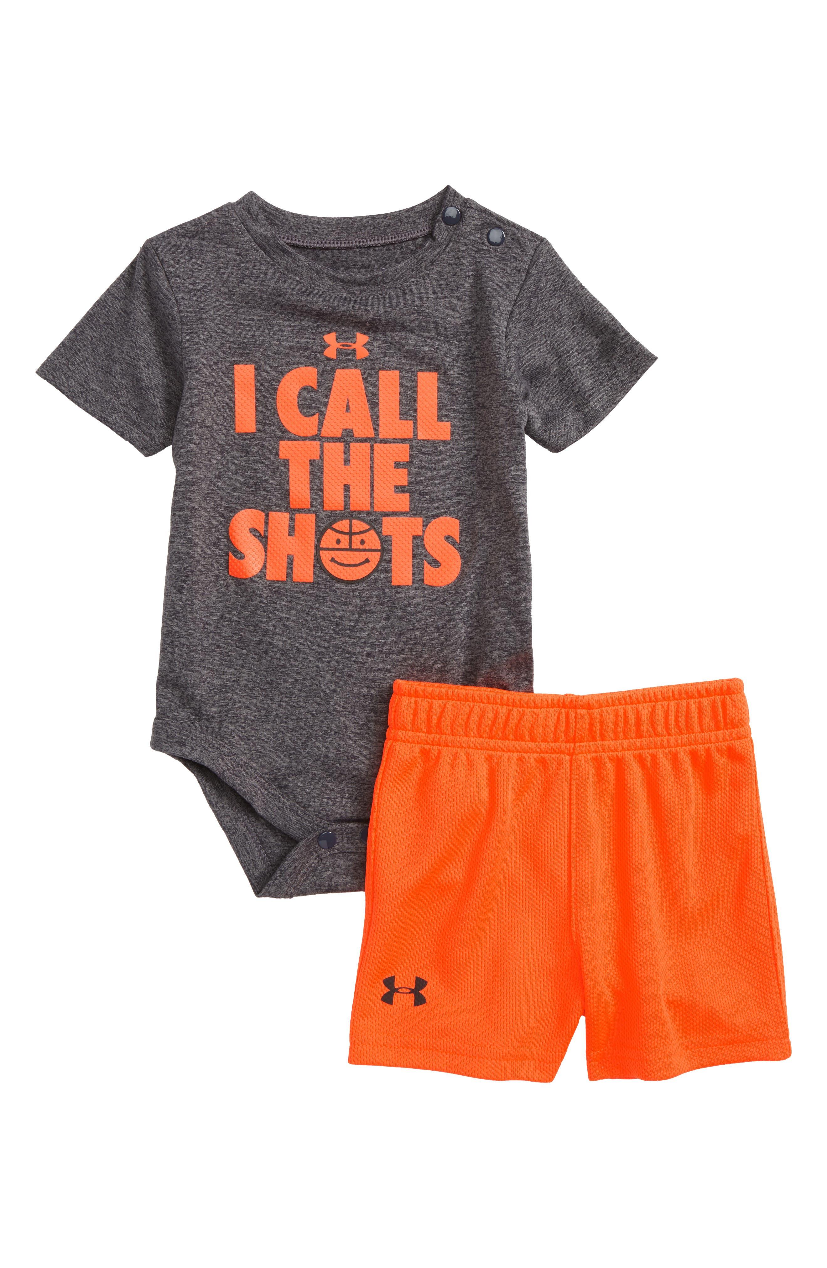 I Call the Shots Bodysuit & Mesh Shorts Set,                         Main,                         color, Carbon Heather
