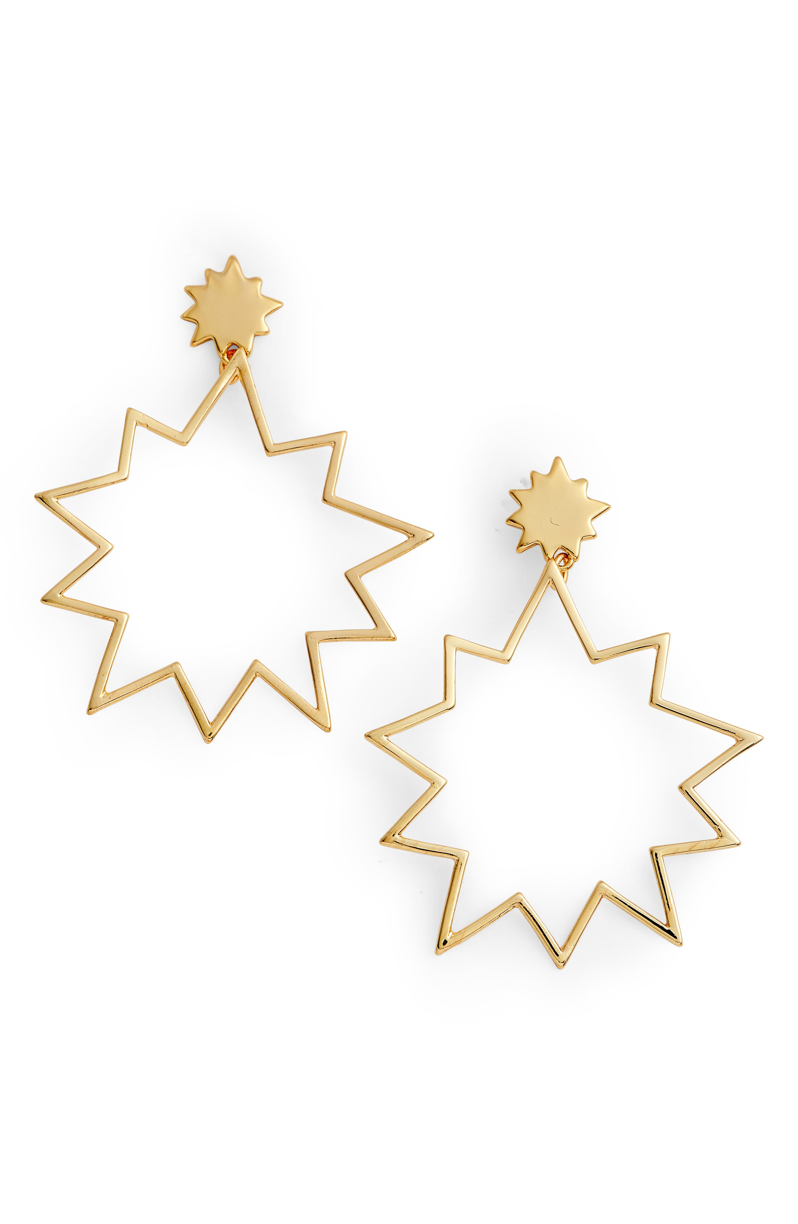 Open Cut Pow Earrings,                         Main,                         color, Gold