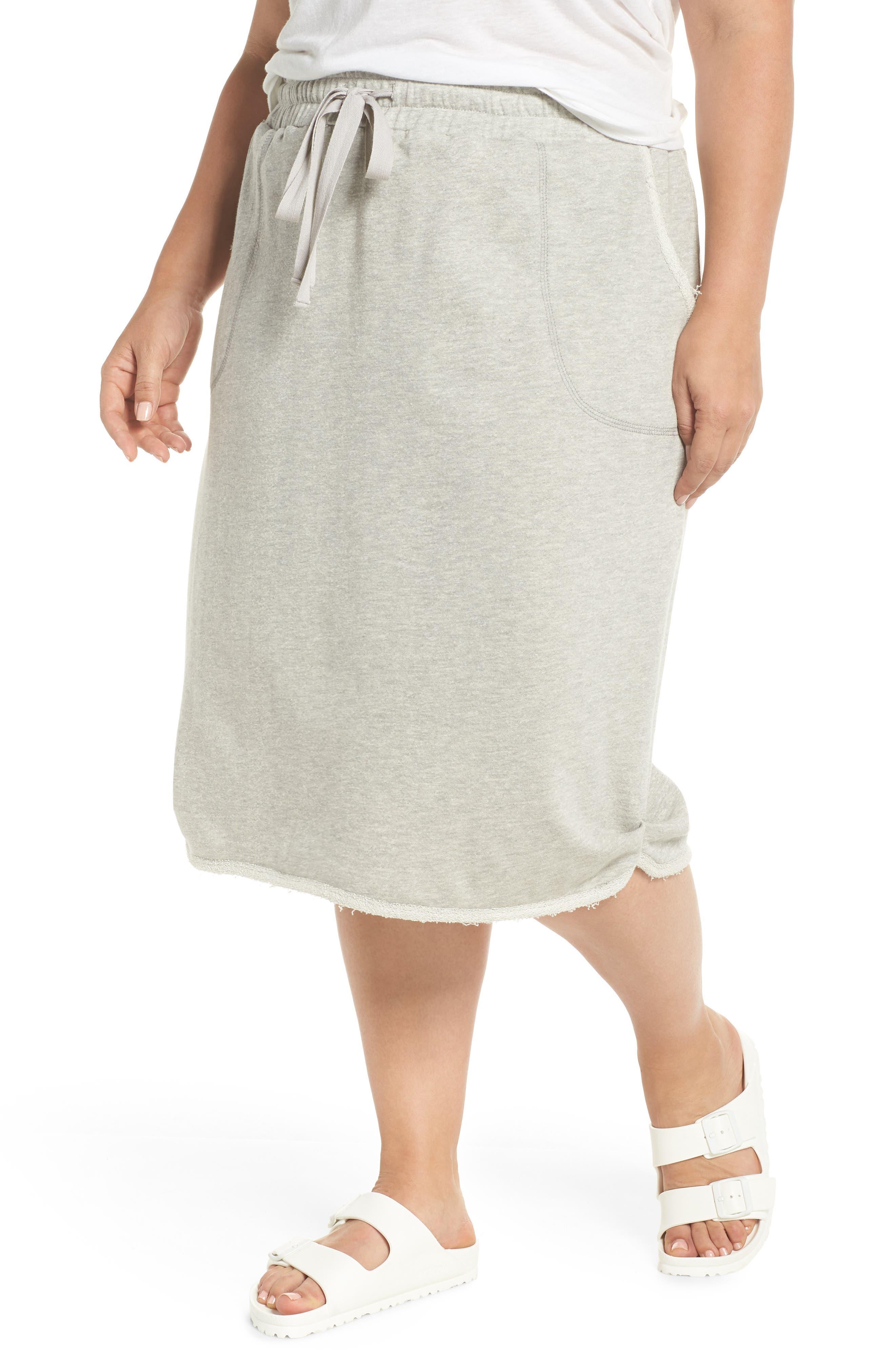 Drawstring Knit Skirt,                             Main thumbnail 1, color,                             Grey Heather