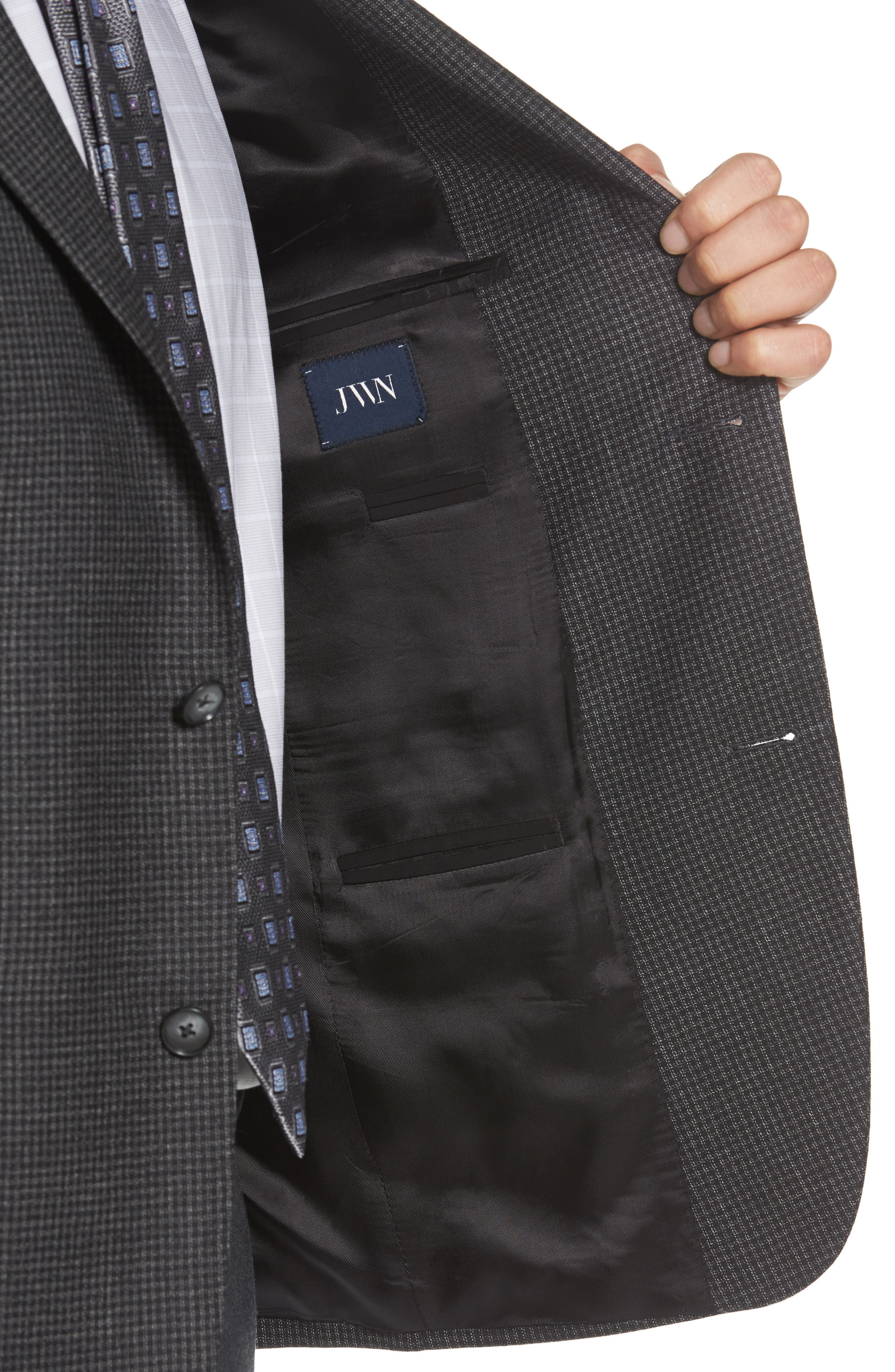 Traditional Fit Microcheck Wool Sport Coat,                             Alternate thumbnail 3, color,                             Black