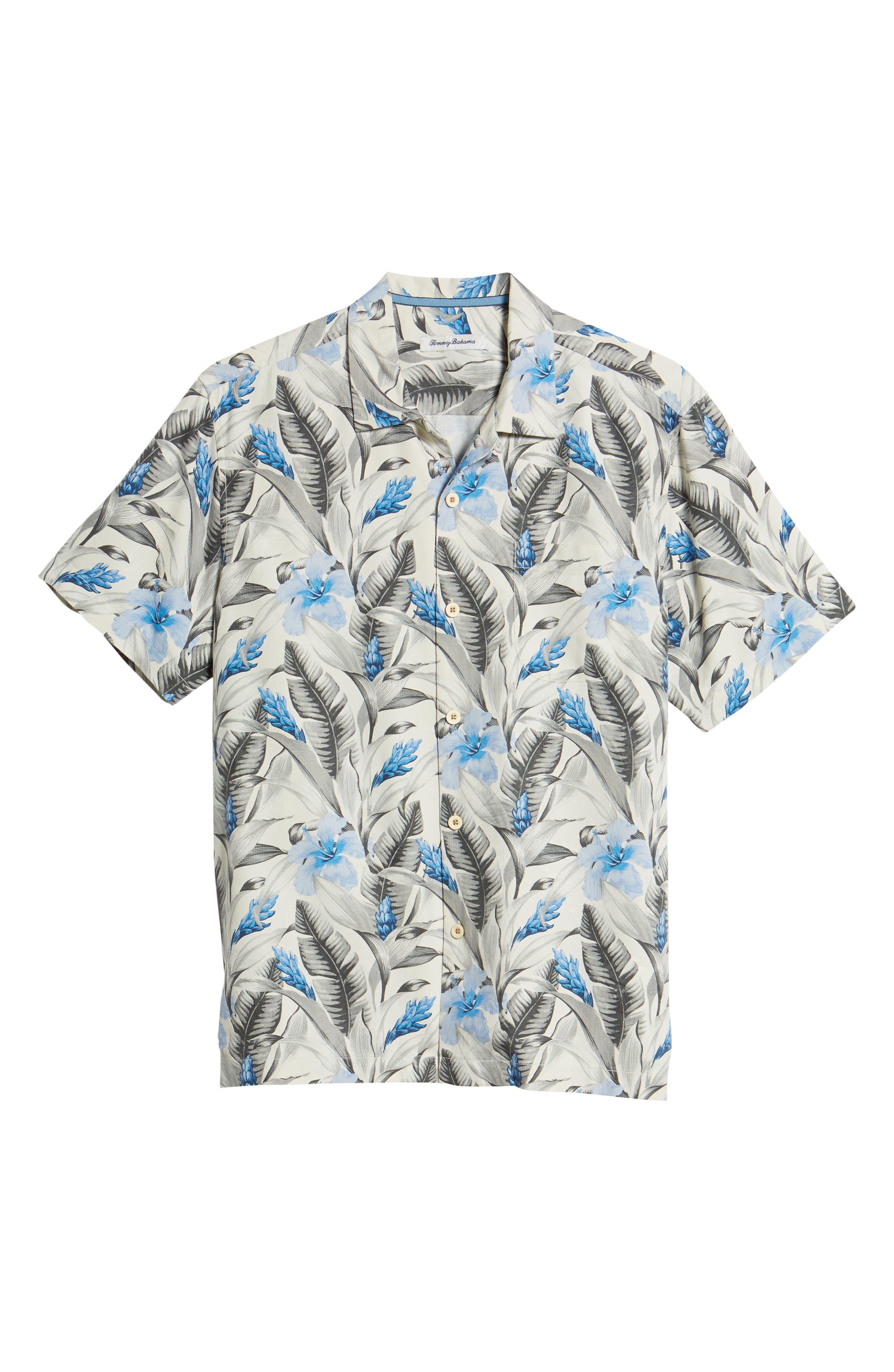 Tulum Bloom Silk Camp Shirt,                             Alternate thumbnail 6, color,                             Marble Cream
