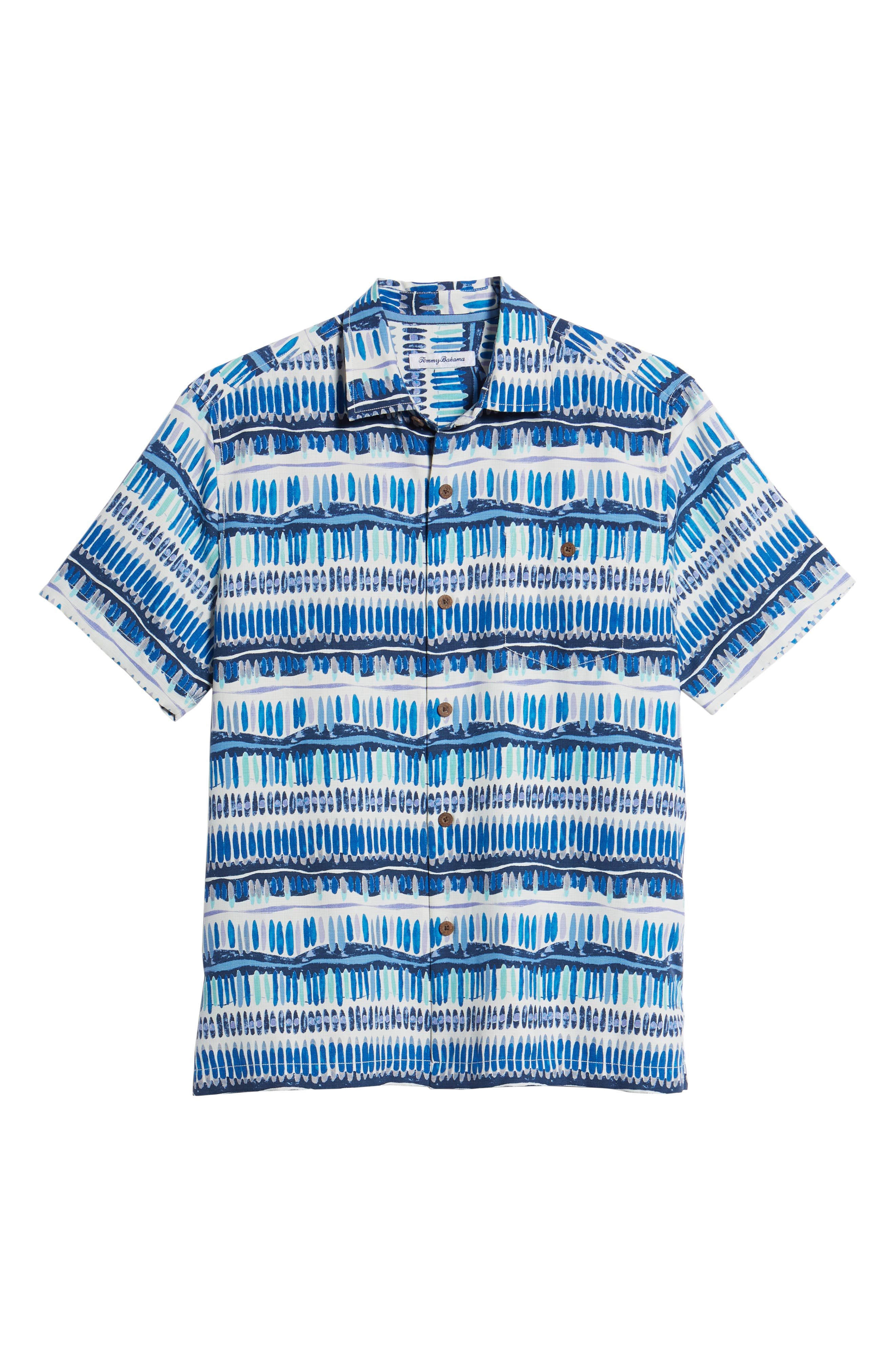 Geo Surf Silk Blend Camp Shirt,                             Alternate thumbnail 6, color,                             Old Royal