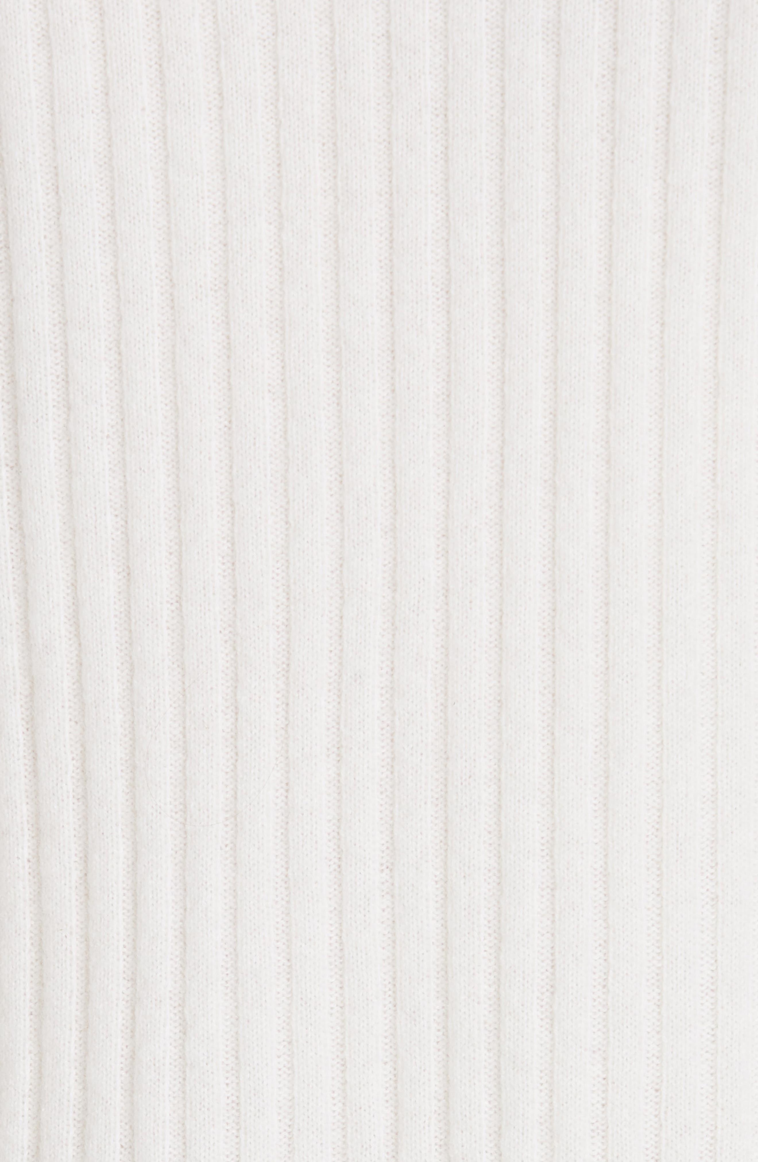 Shoulder Slit Cashmere Crewneck Sweater,                             Alternate thumbnail 5, color,                             Off White