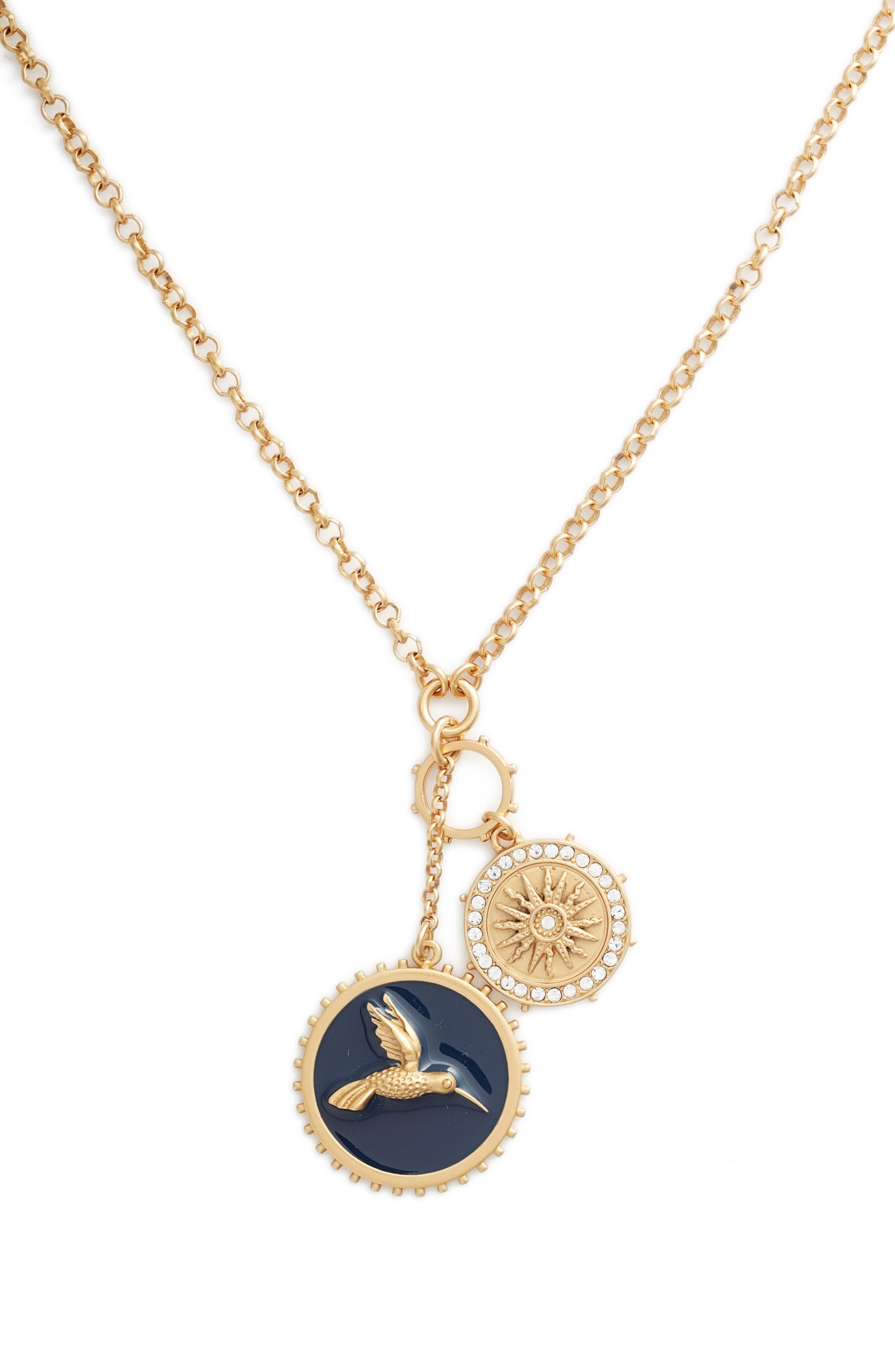 Enamel Hummingbird Pendant Necklace,                             Alternate thumbnail 2, color,                             Gold