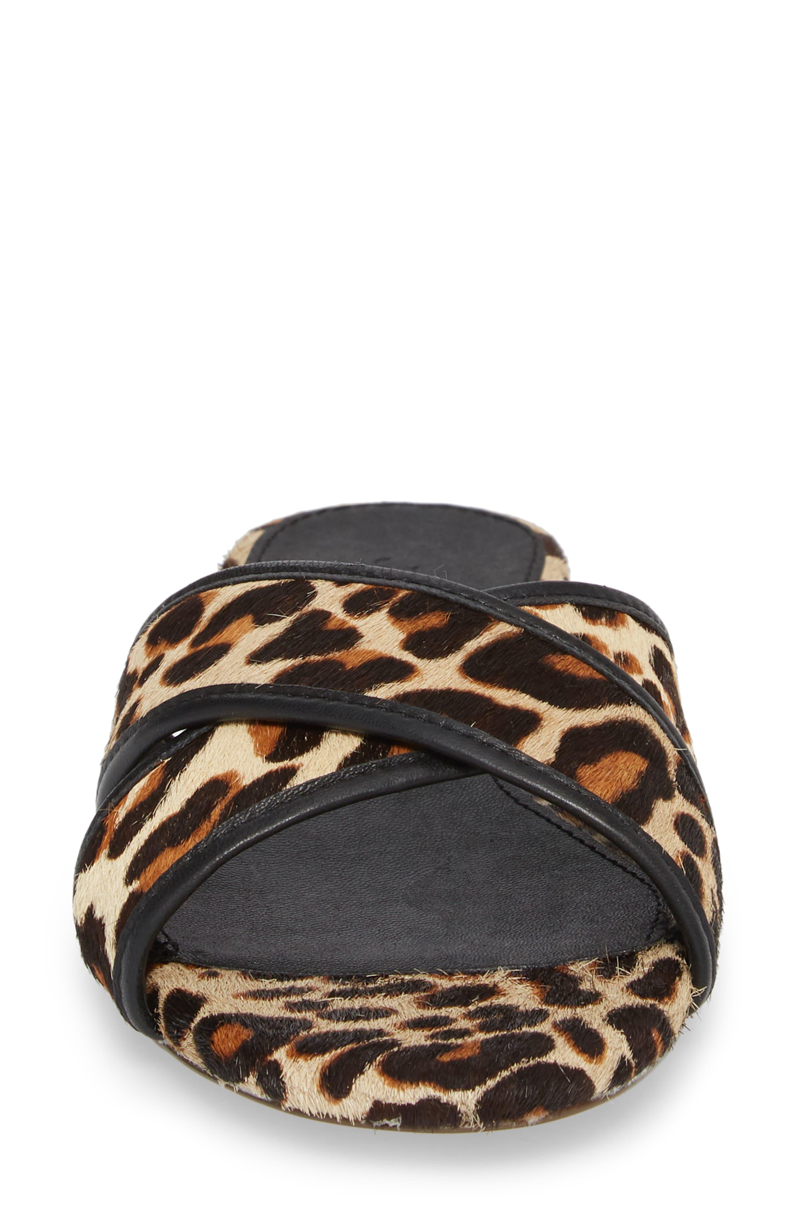 Cora Genuine Calf Hair Slide Sandal,                             Alternate thumbnail 5, color,                             Chocolate Sepia