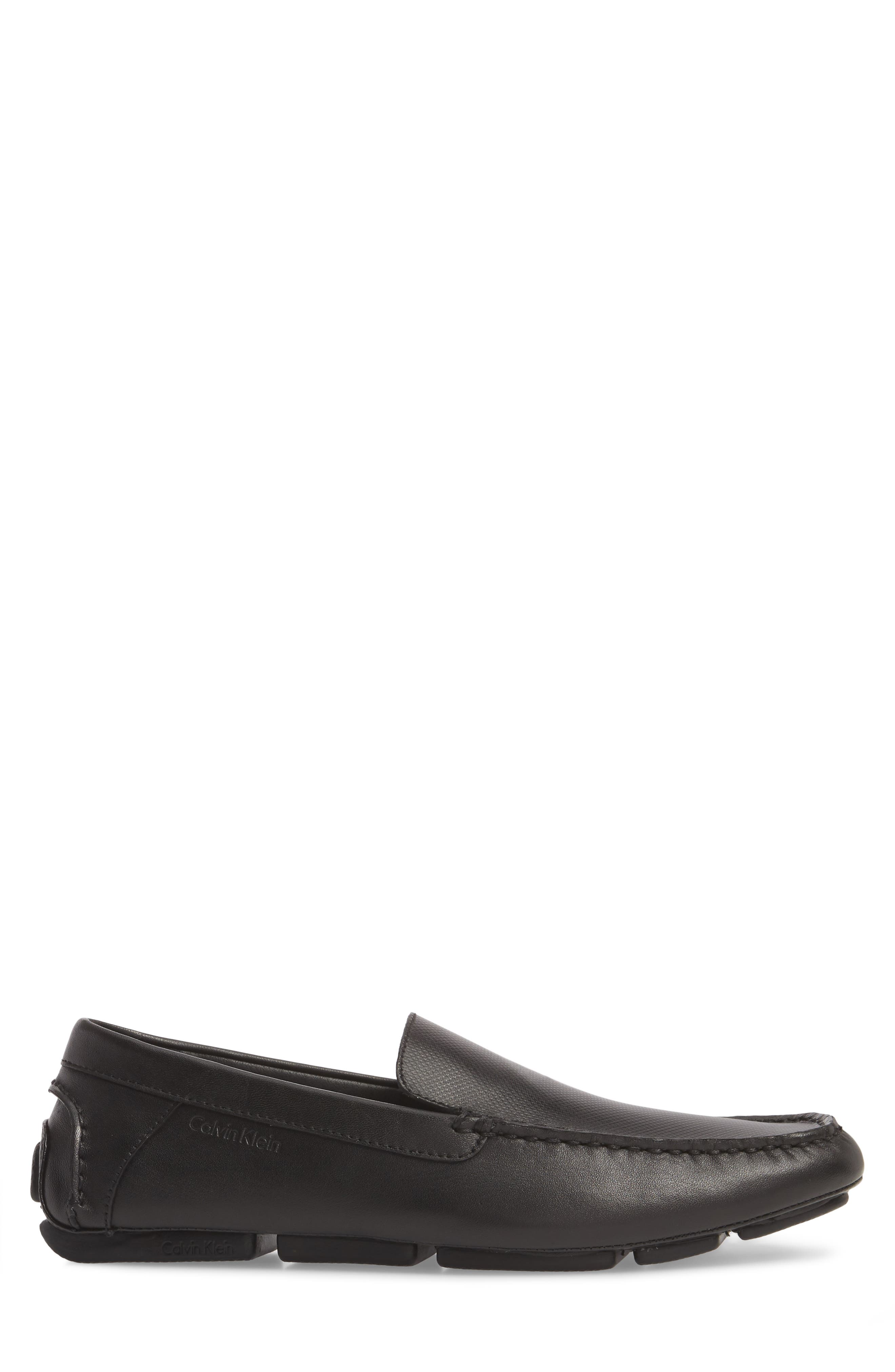 Miguel Textured Driving Loafer,                             Alternate thumbnail 3, color,                             Black Leather