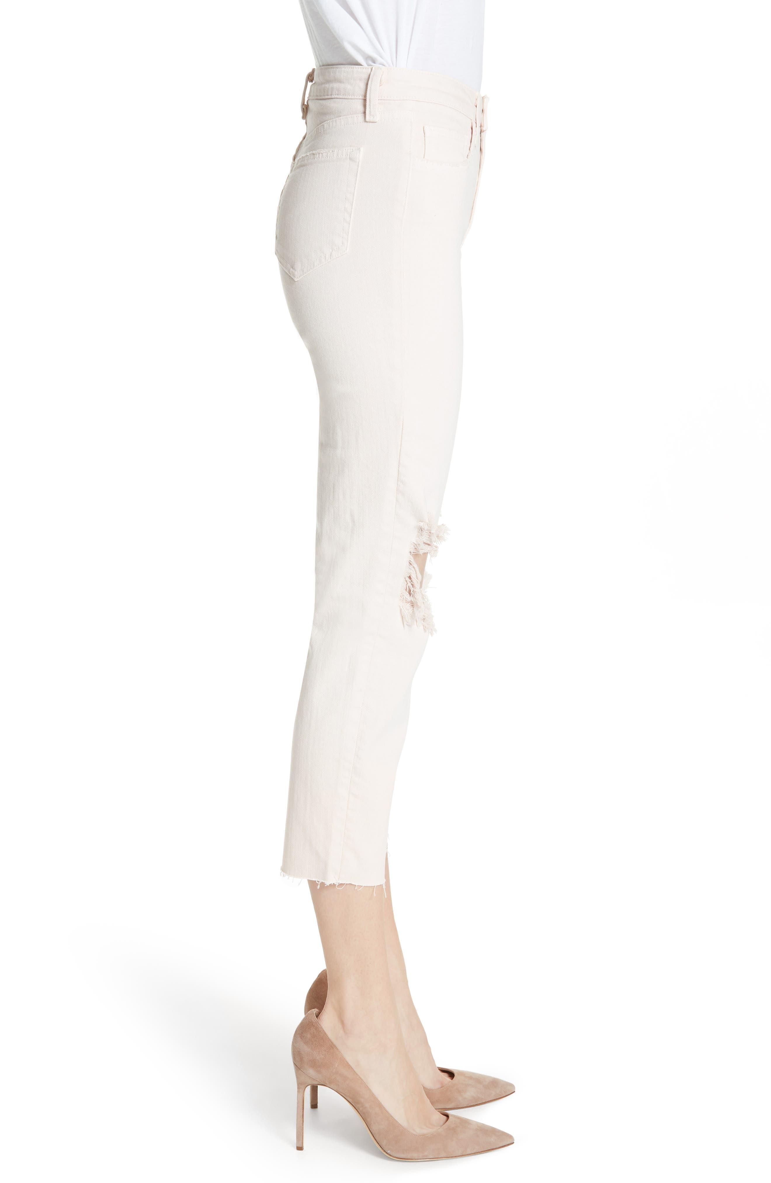 Audrina Ripped Straight Leg Crop Jeans,                             Alternate thumbnail 3, color,                             Quartz Worn Destruct