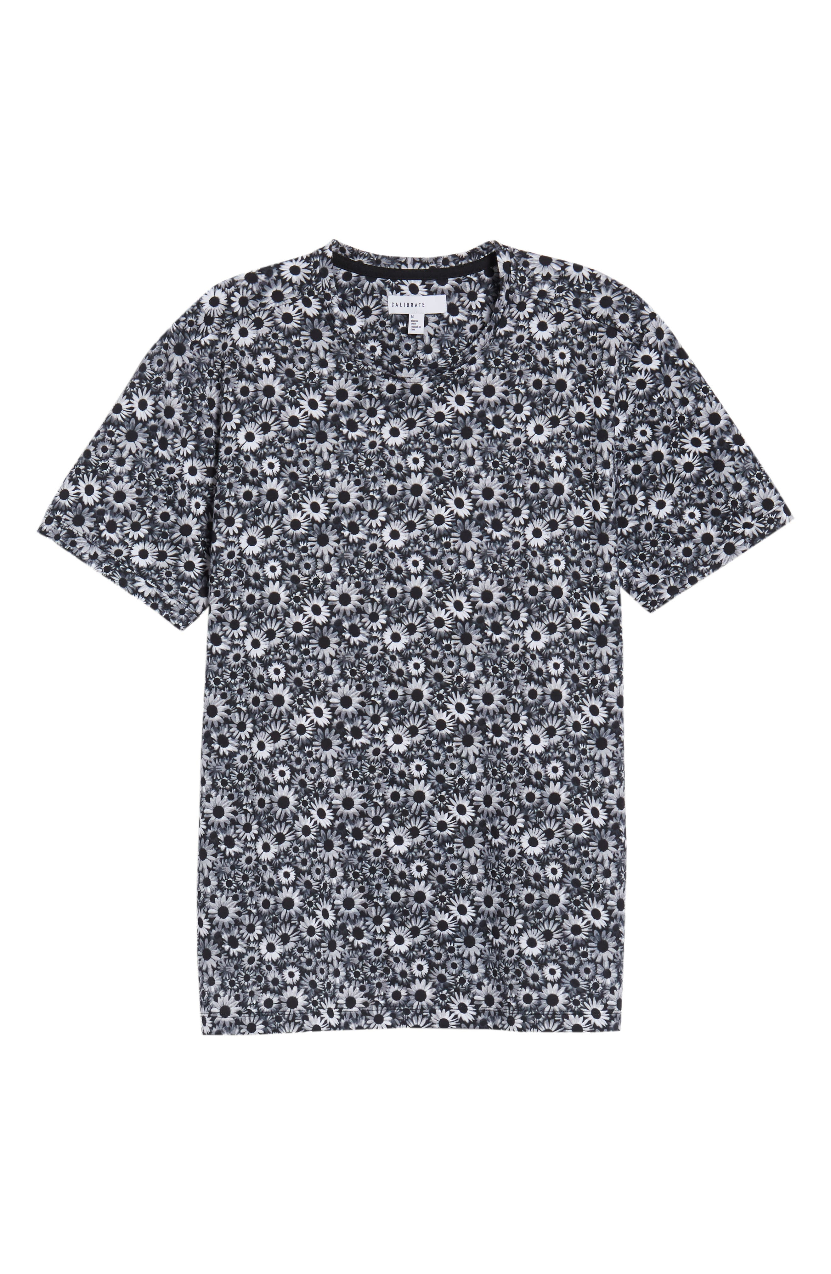 Print T-Shirt,                             Alternate thumbnail 6, color,                             Black White Daisy Floral