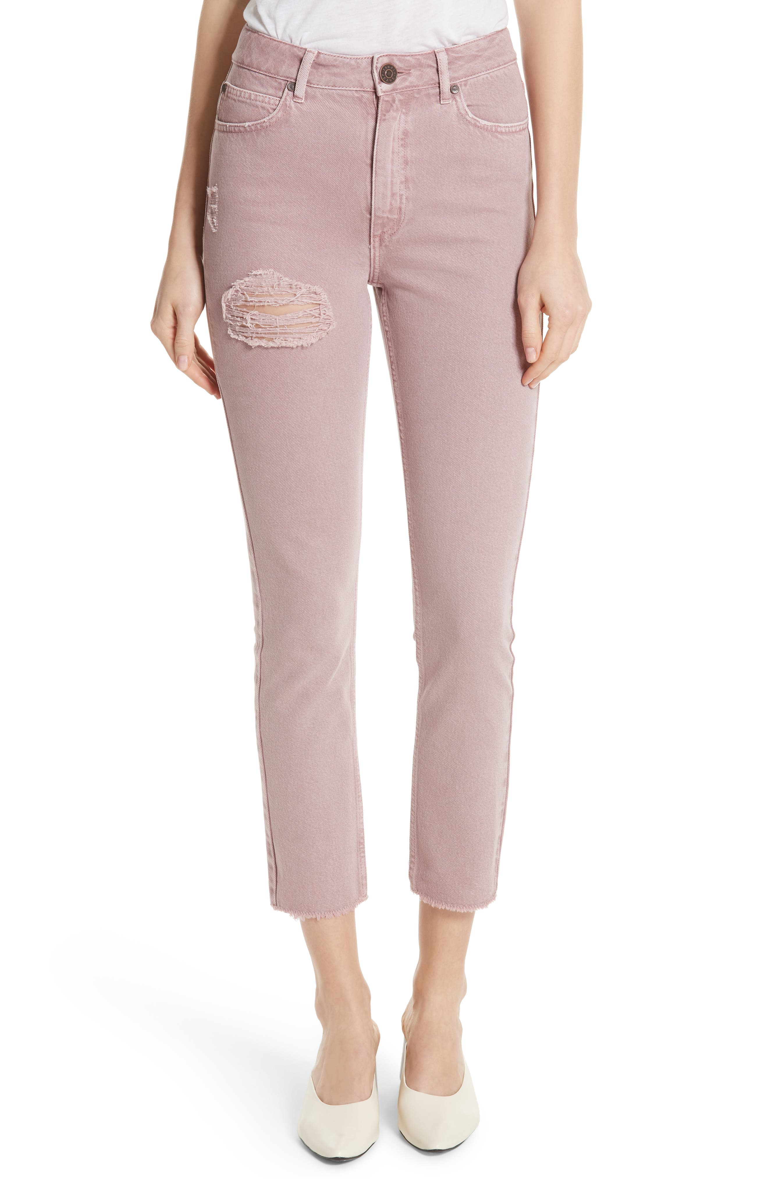 Ripped Raw Edge Jeans,                         Main,                         color, Rose