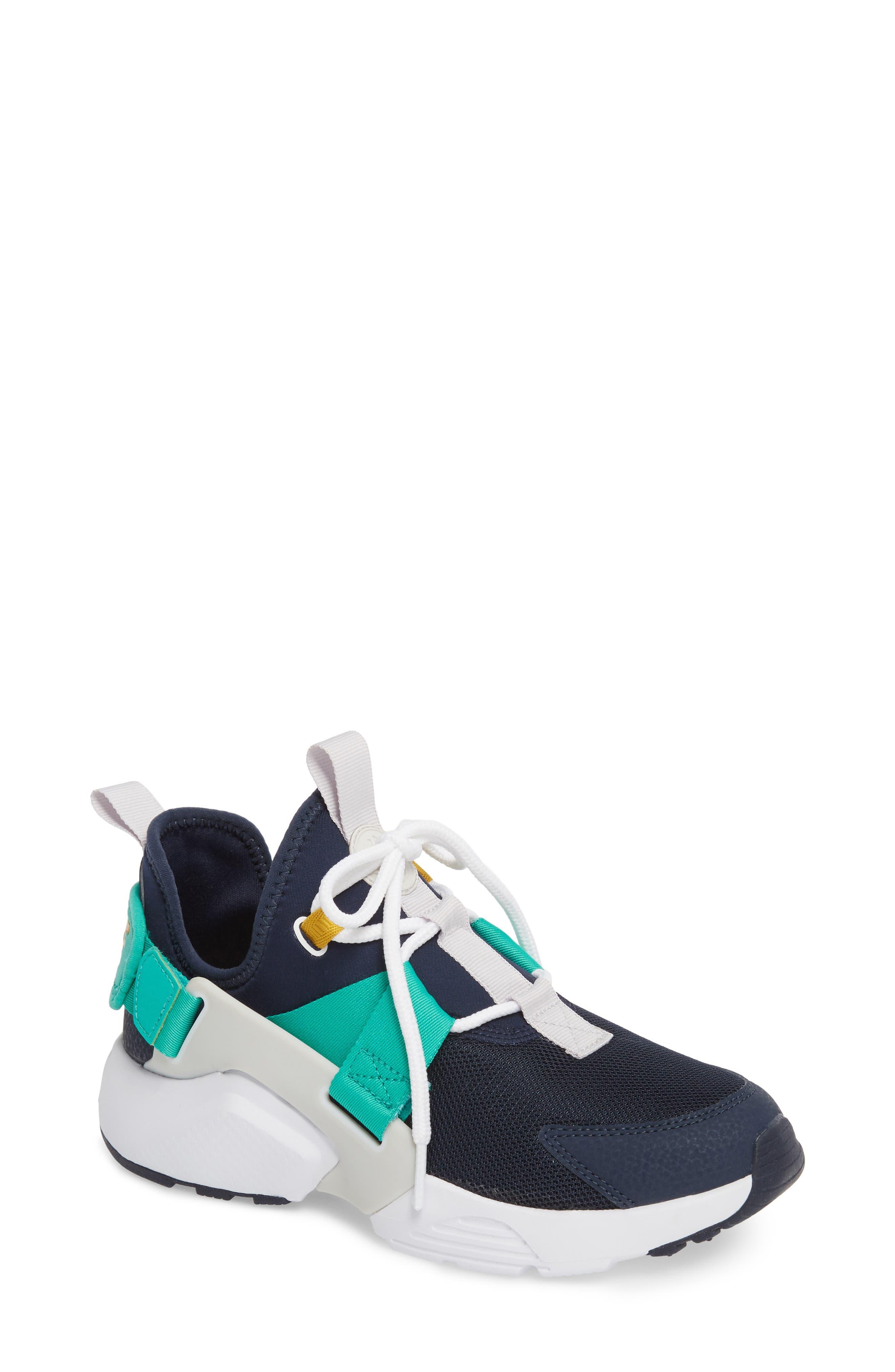 Air Huarache City Low Sneaker,                             Main thumbnail 1, color,                             Obsidian/ White/ Grey/ Green