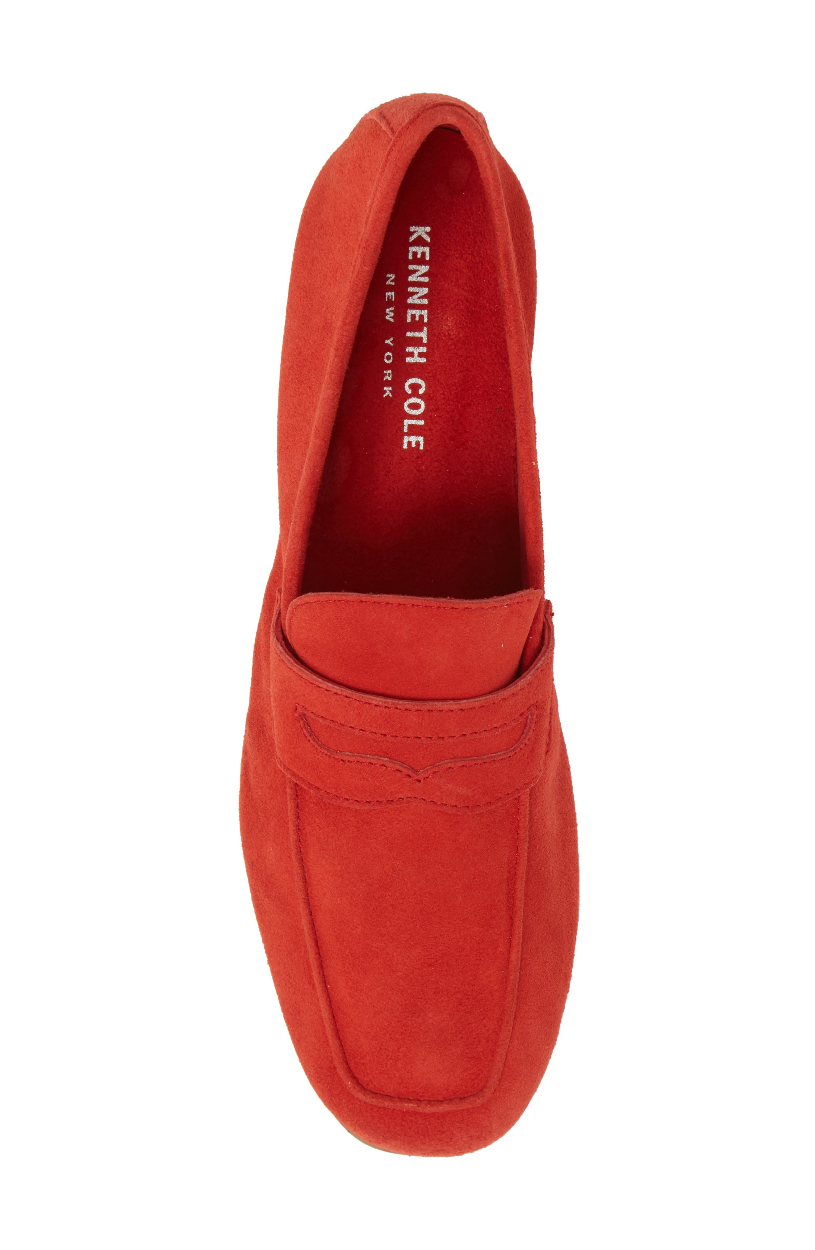Dean Apron Toe Penny Loafer,                             Alternate thumbnail 5, color,                             Red Suede