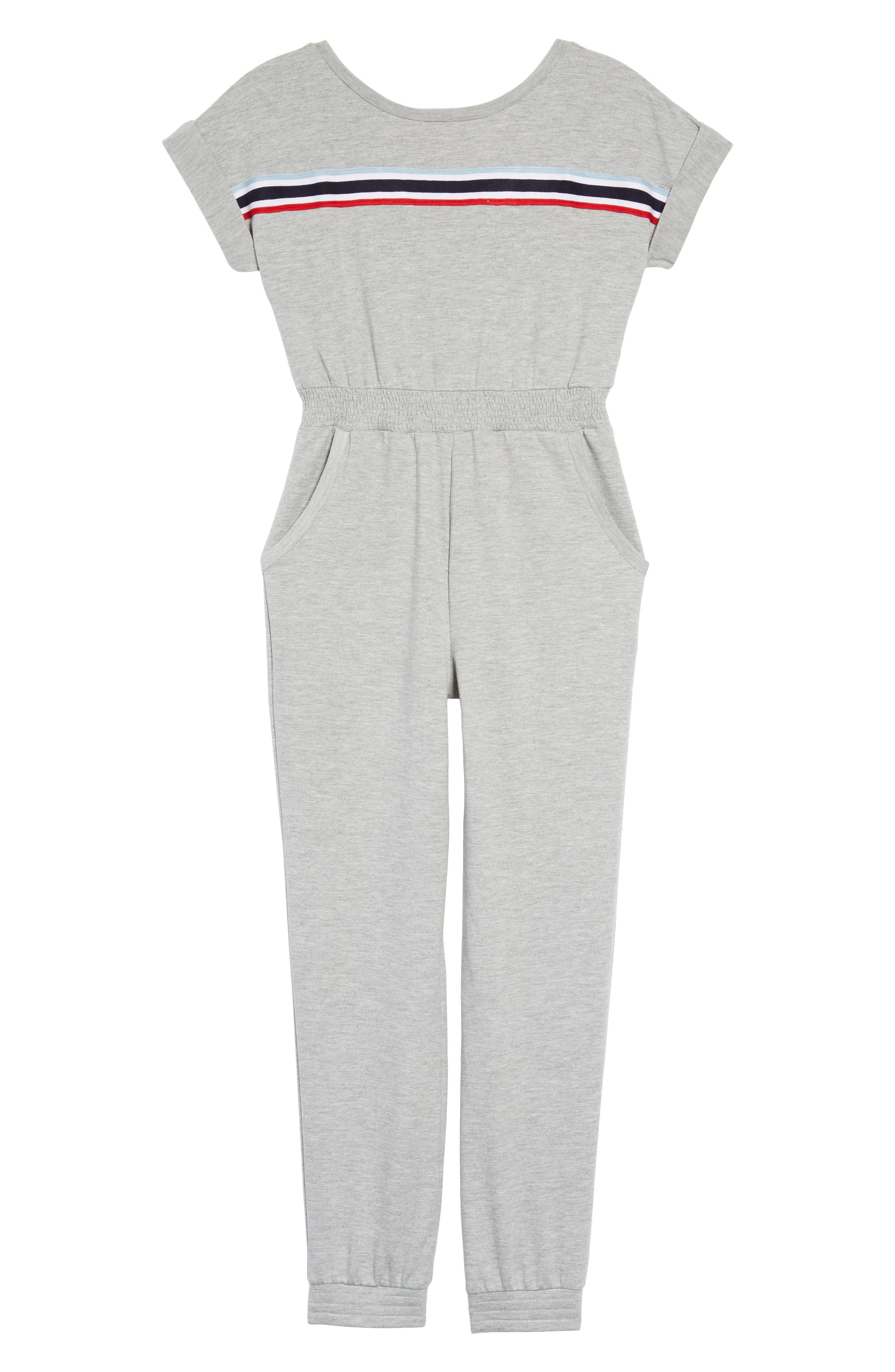 Stripe Jumpsuit,                         Main,                         color, Grey