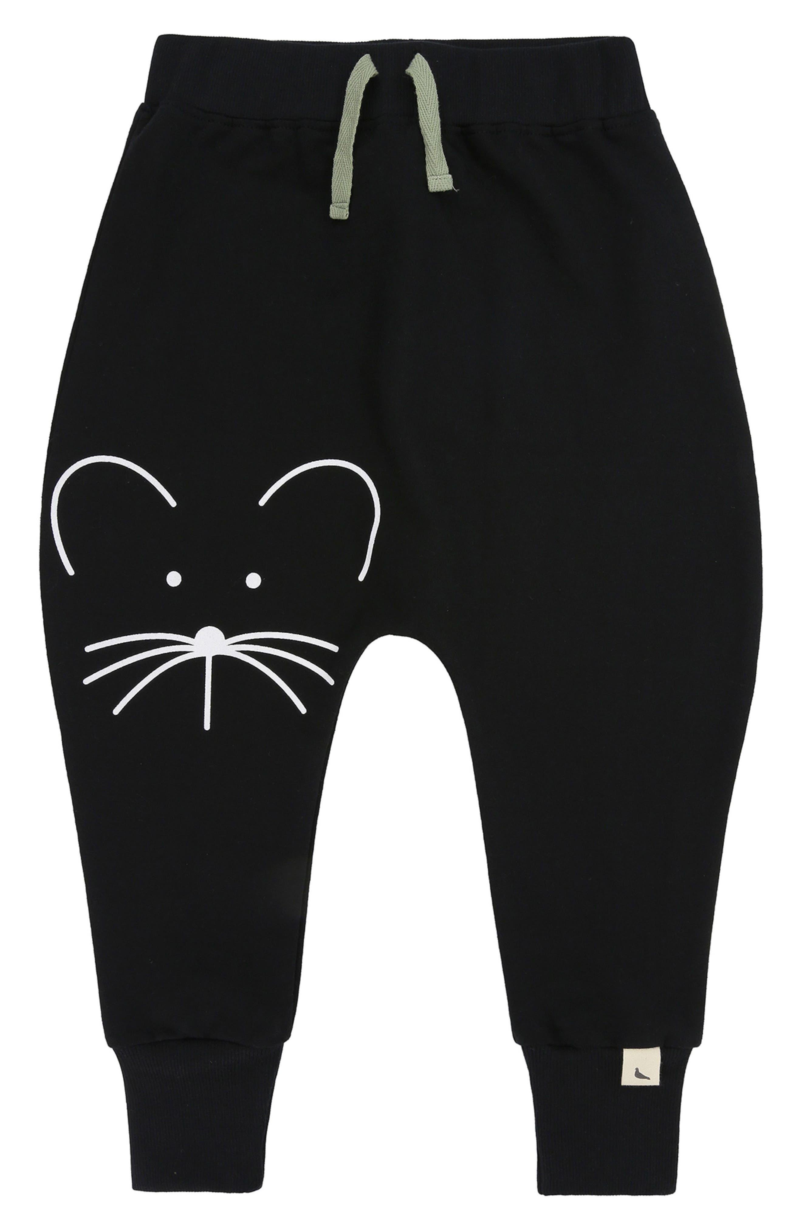 Mouse Face Organic Cotton Harem Pants,                             Main thumbnail 1, color,                             Black