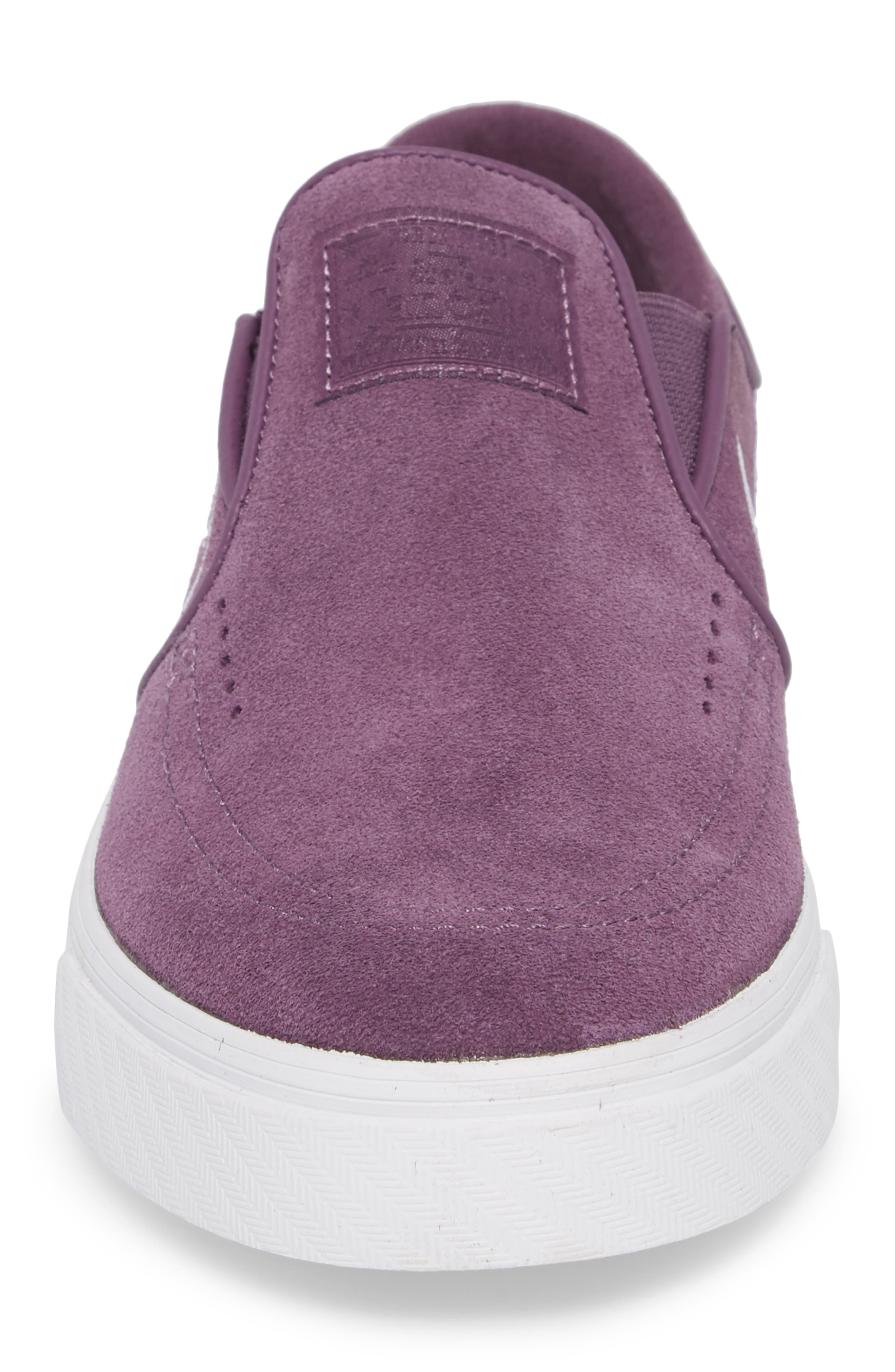 Zoom Stefan Janoski Slip-On,                             Alternate thumbnail 4, color,                             Pro Purple/ White/ Grey