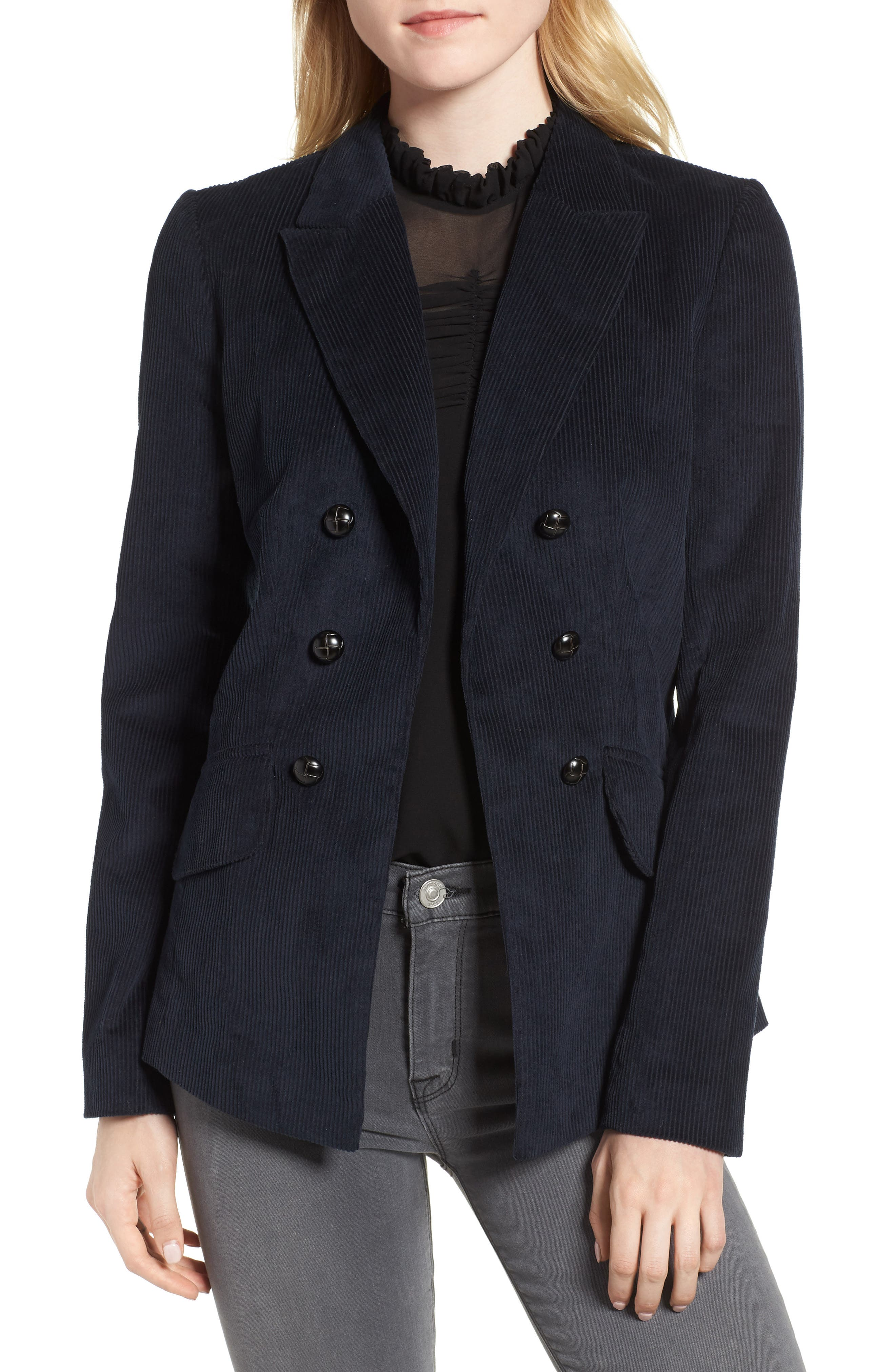 Double Breasted Corduroy Blazer,                             Main thumbnail 1, color,                             Navy Sapphire