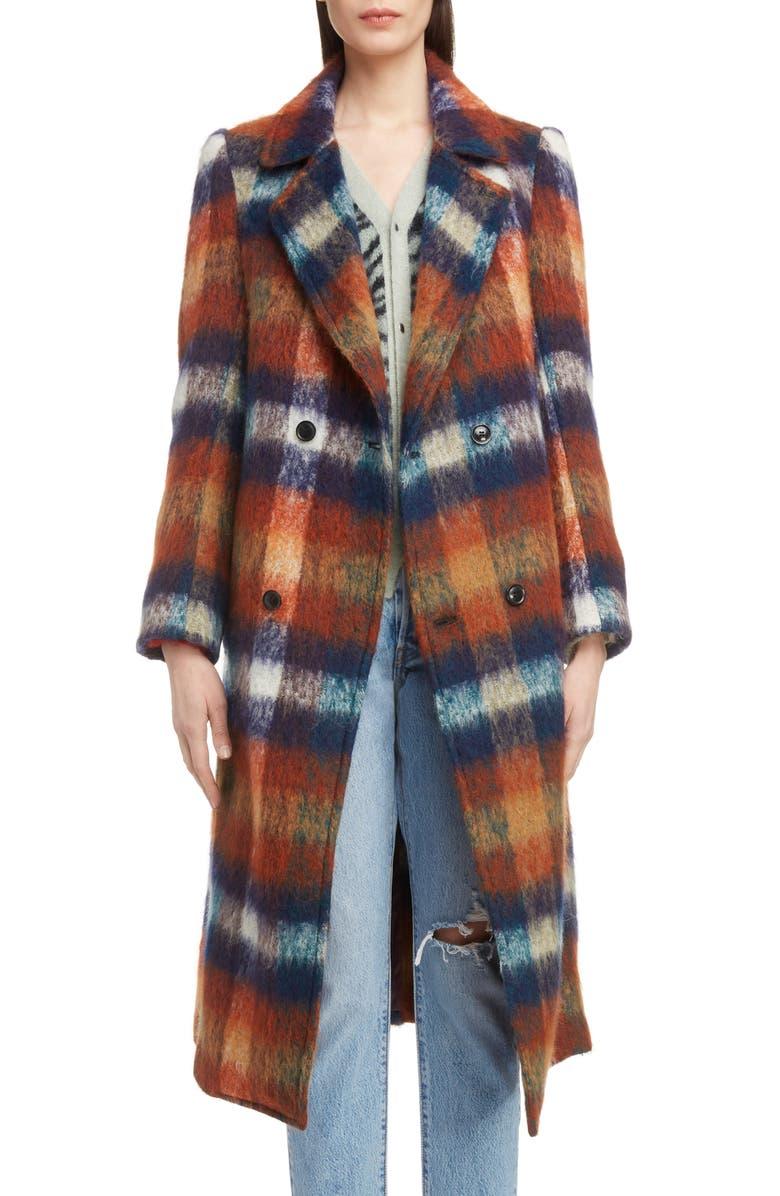Long Plaid Shaggy Wool  Mohair Blend Coat