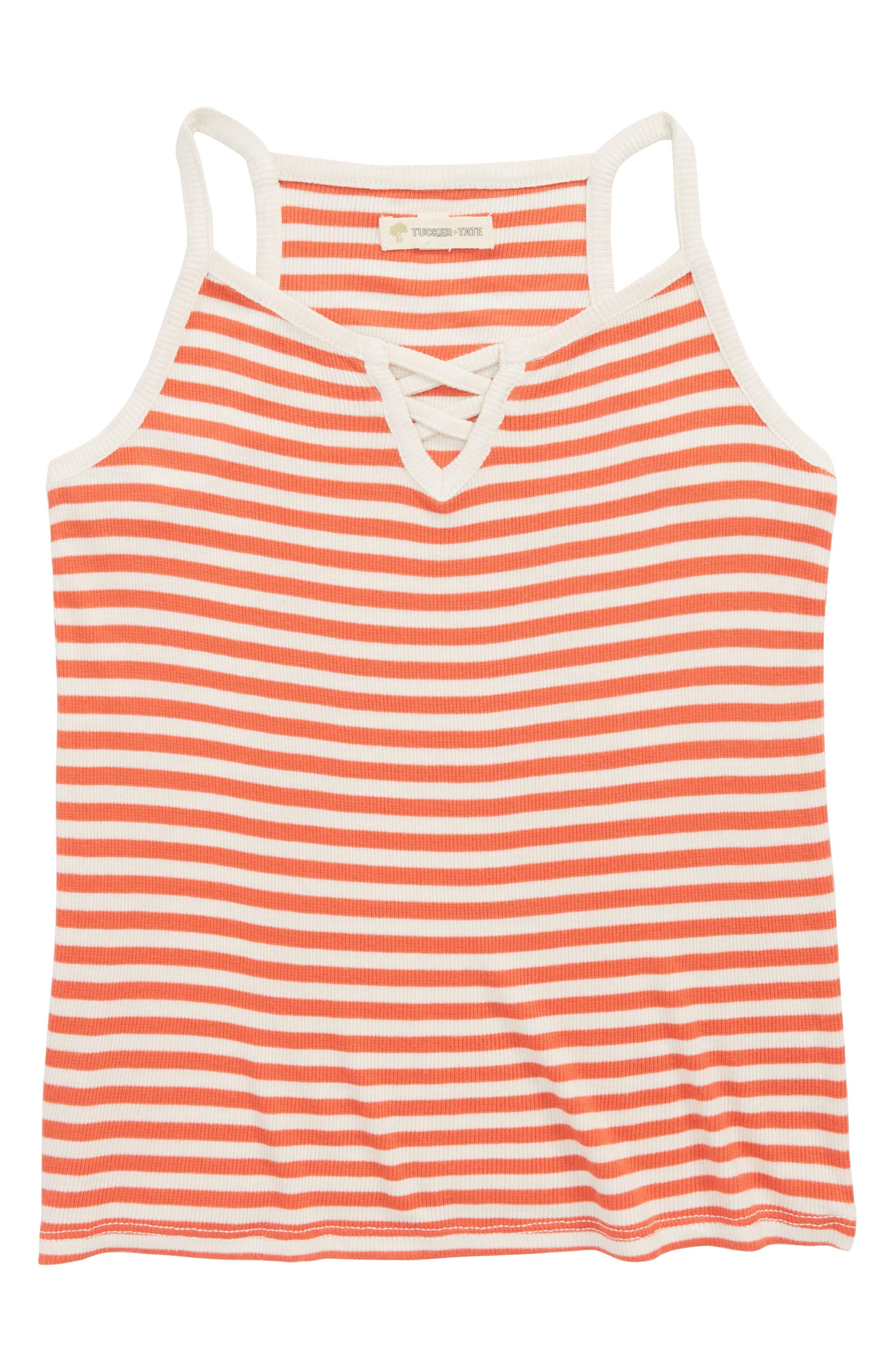 Crisscross Stripe Tank,                             Main thumbnail 1, color,                             Coral Hot- Ivory Stripe