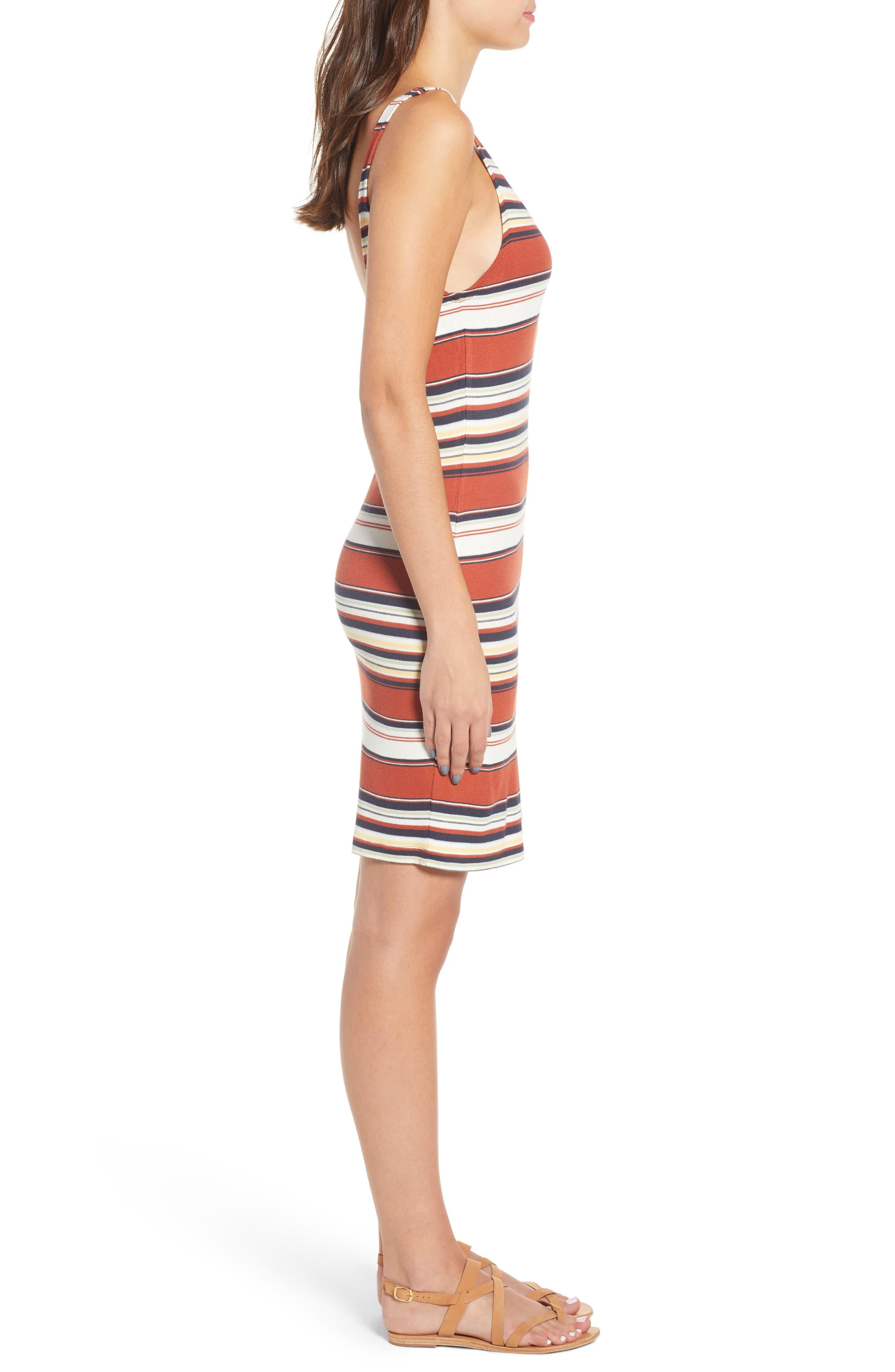 Homesick Stripe Ribbed Dress,                             Alternate thumbnail 3, color,                             Brick Multi