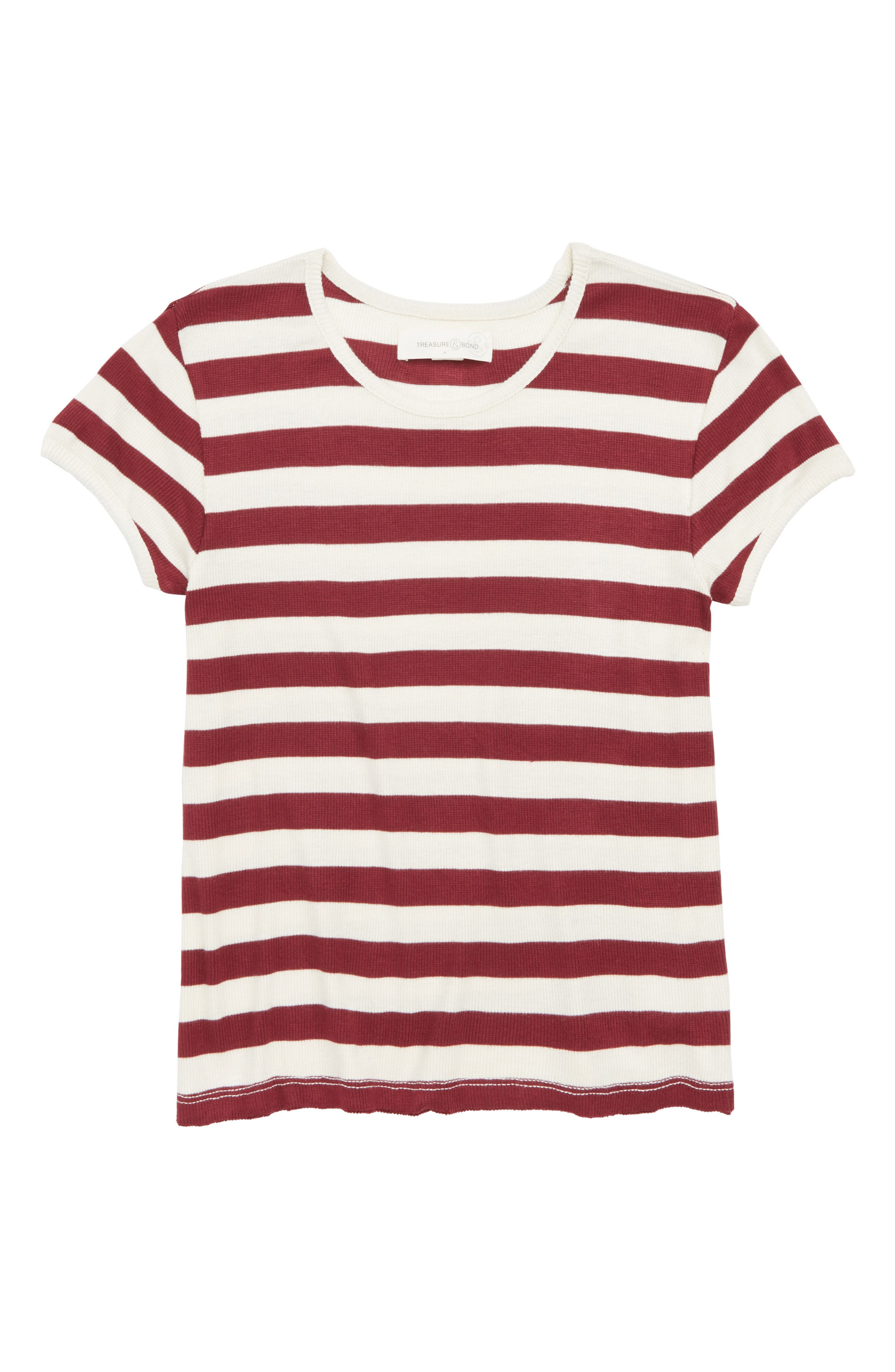 Stripe Knit Tee,                             Main thumbnail 1, color,                             Red Cordovan- Ivory Stripe