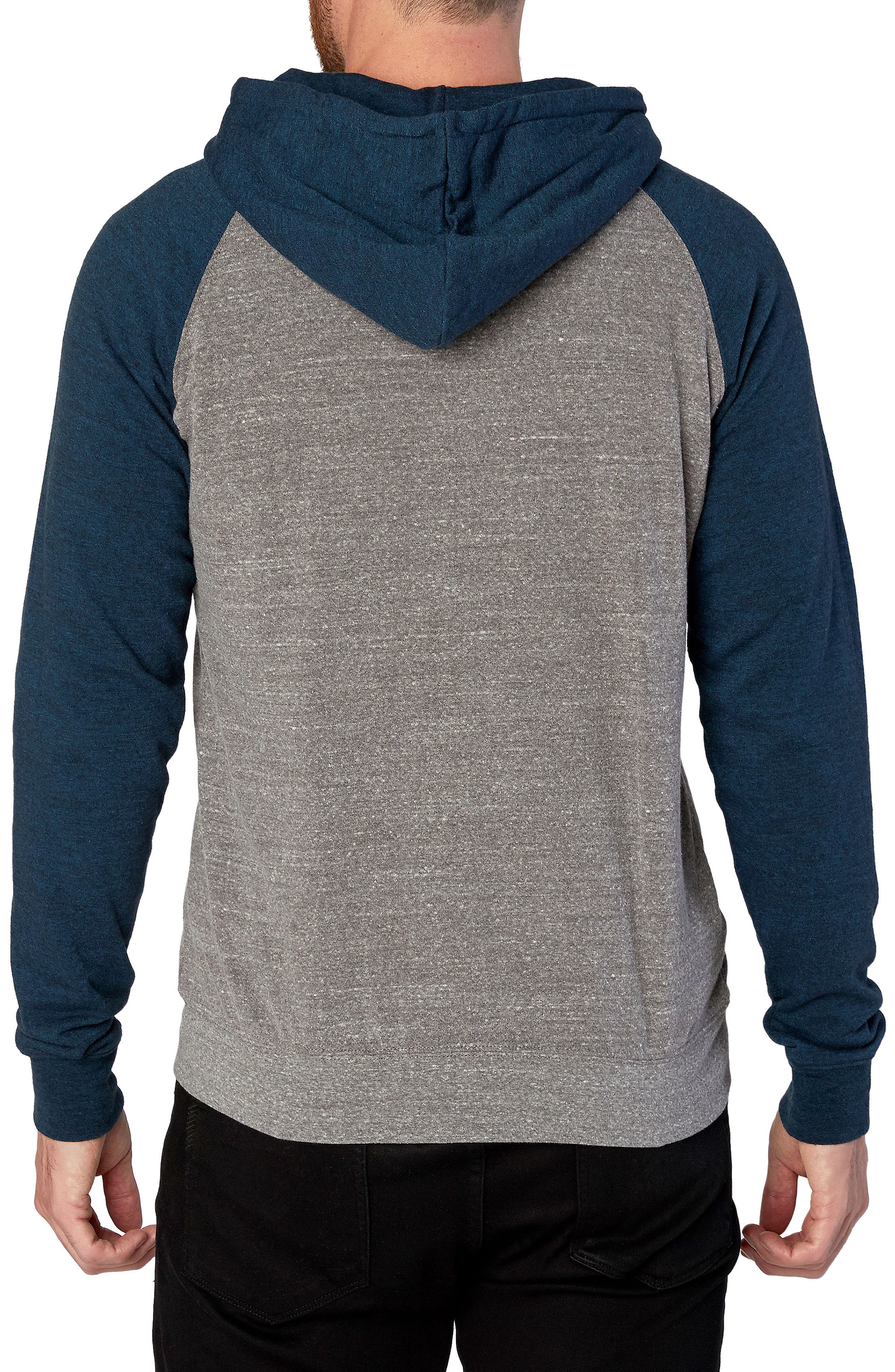 Threads for Thought Raglan Hoodie,                             Alternate thumbnail 2, color,                             Heather Grey/ Midnight