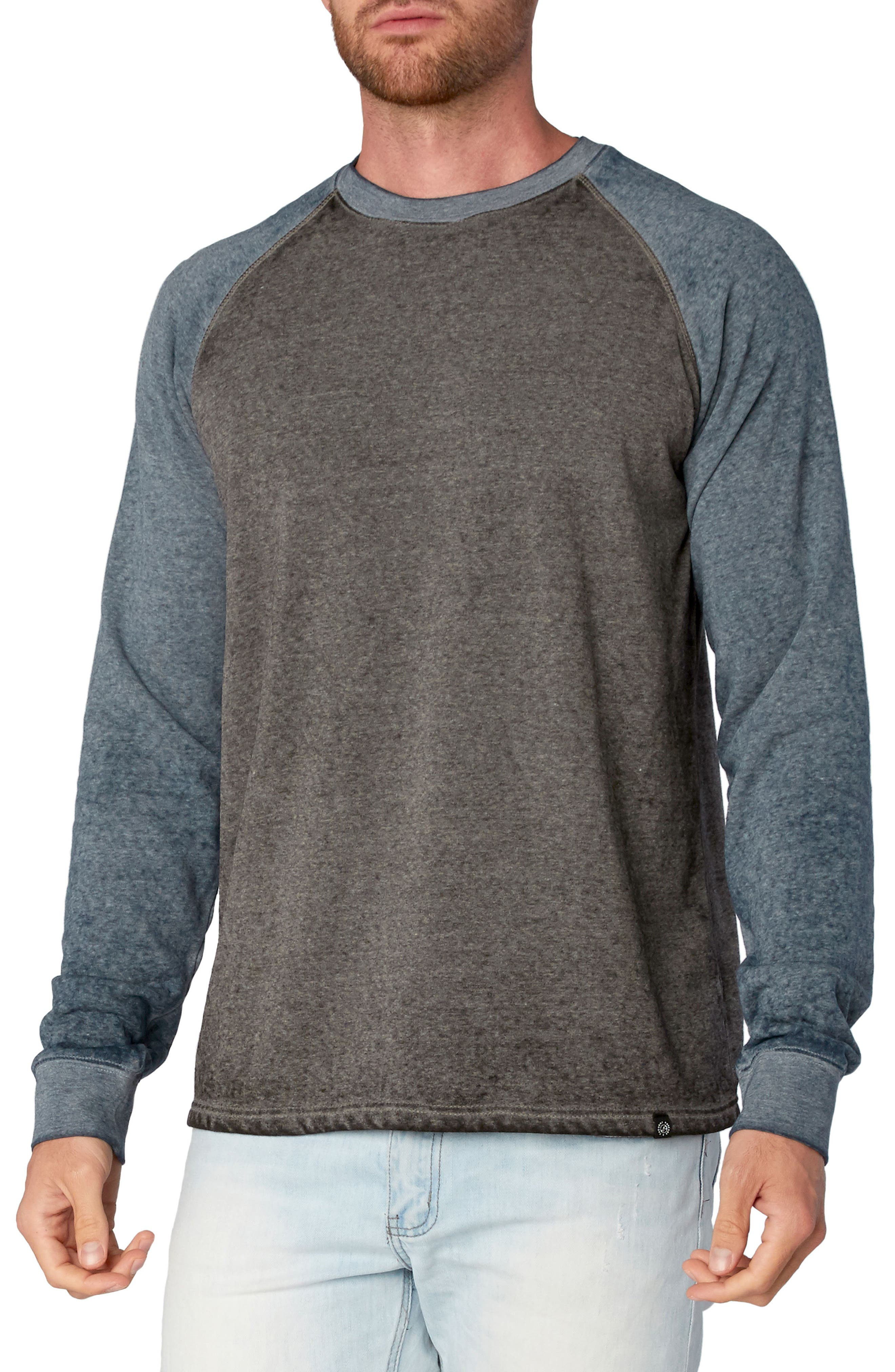 Washed Raglan Sleeve Sweatshirt,                         Main,                         color, Black/ Raw Denim