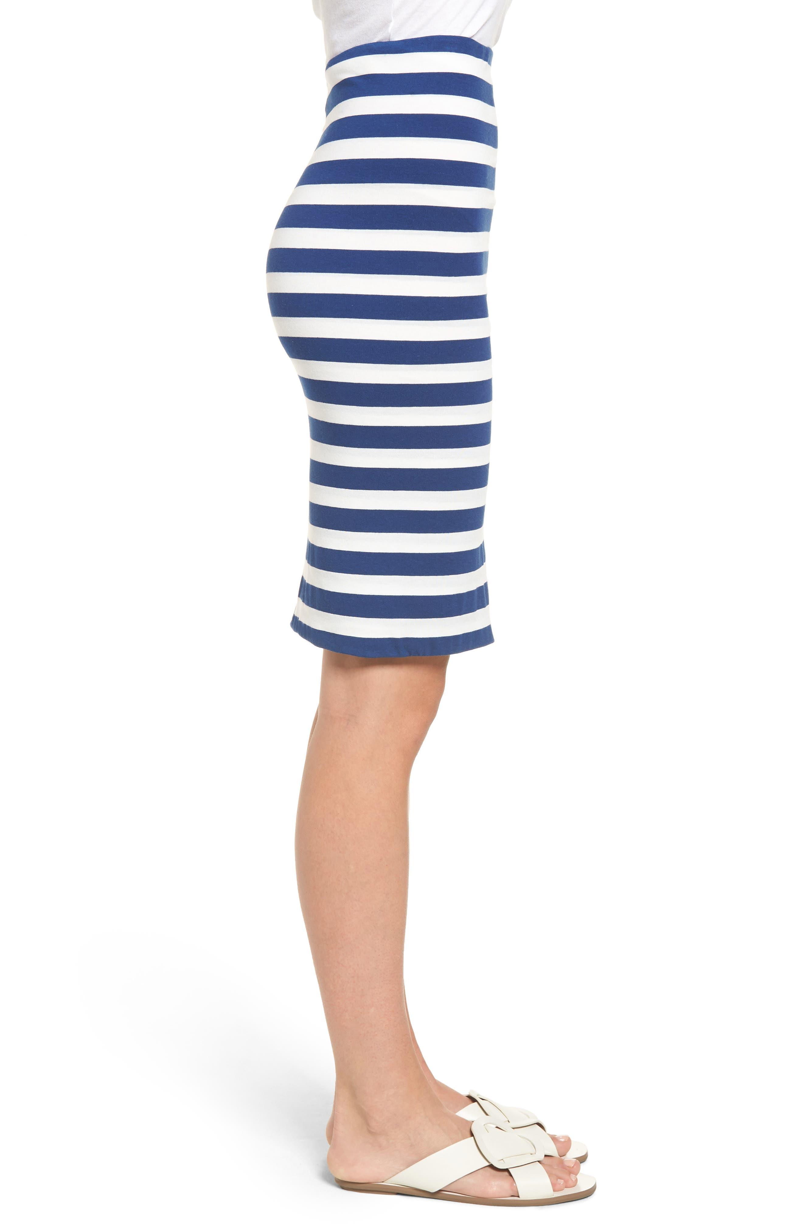 x Hi Sugarplum! Fornillo Pencil Skirt,                             Alternate thumbnail 4, color,                             Blue Stripe