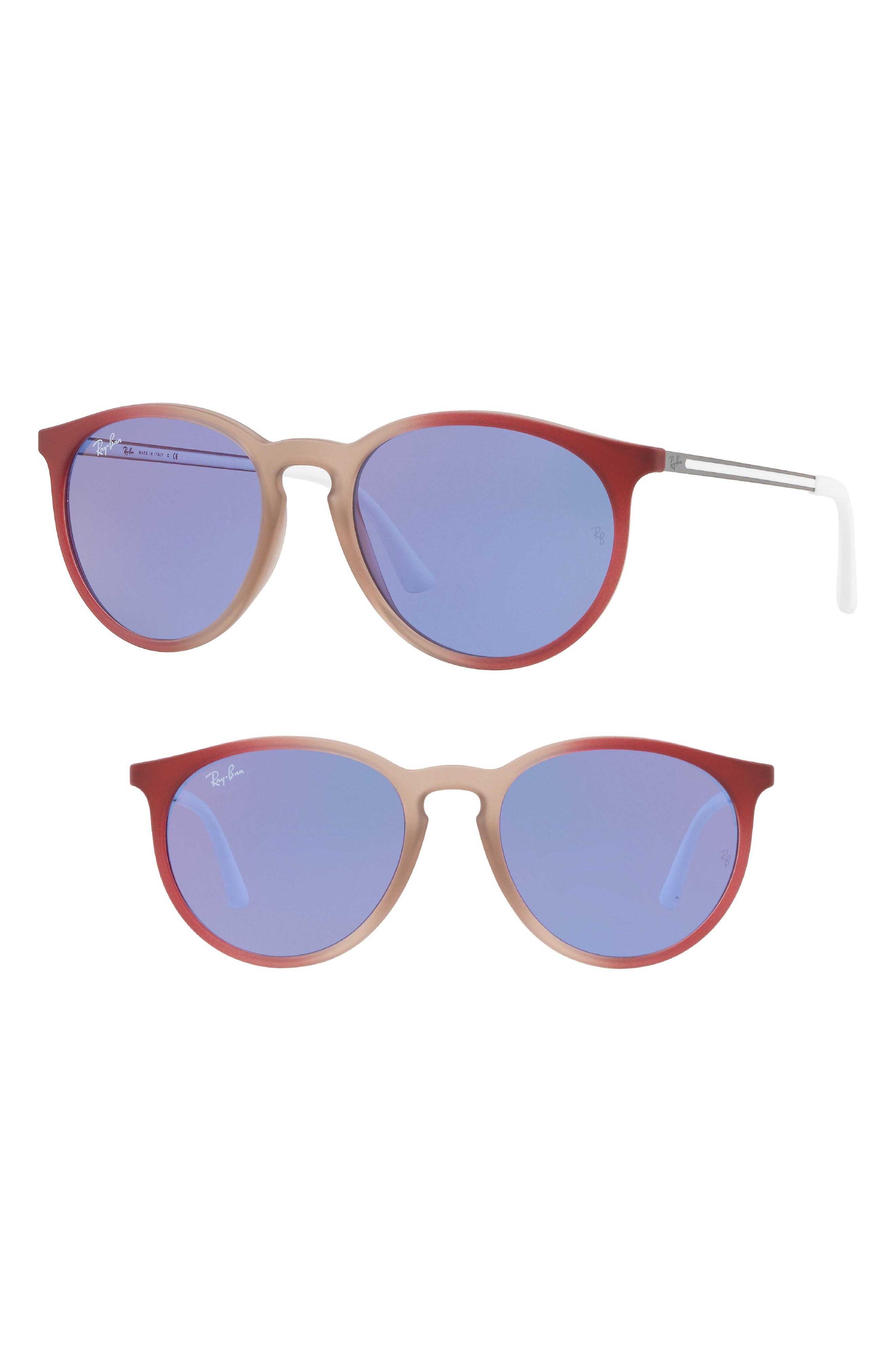 Youngster 53mm Round Sunglasses,                             Main thumbnail 1, color,                             Purple/ Red Mirror