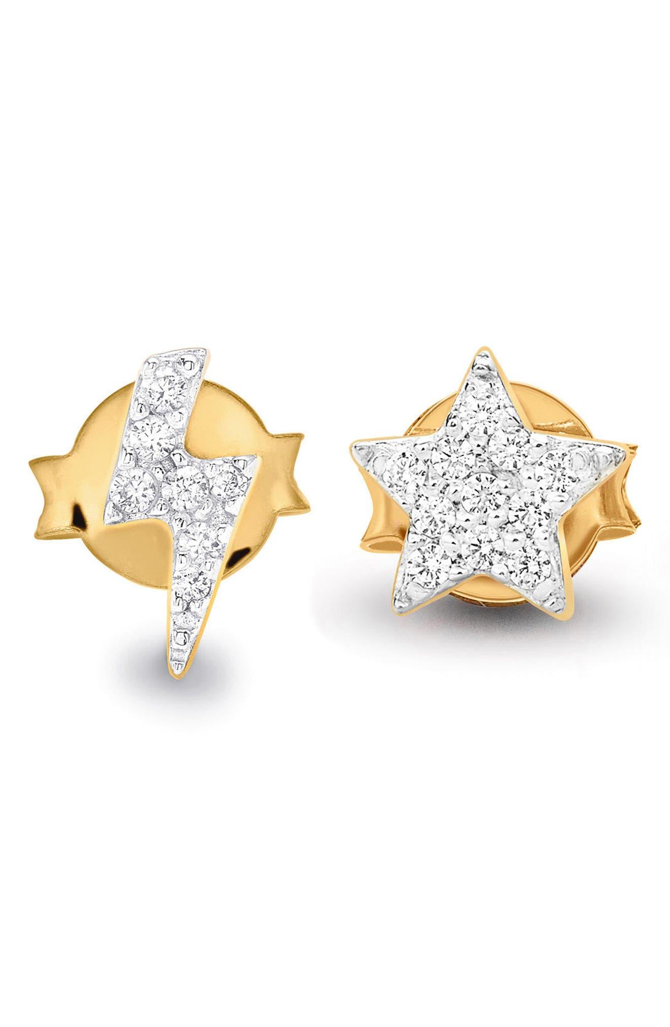 Pavé Star & Lightning Stud Earrings,                         Main,                         color, Gold