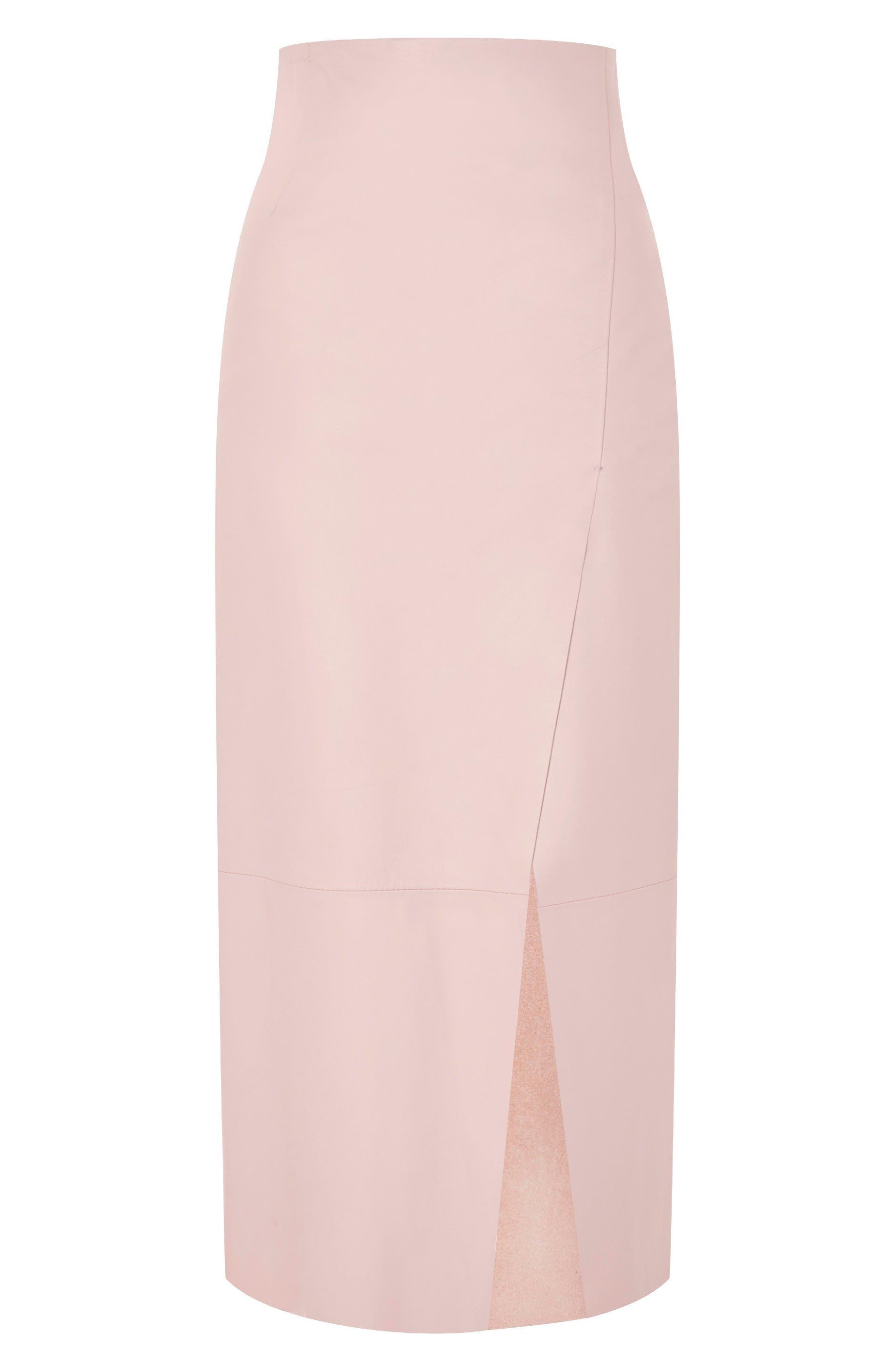 Topshop Boutique Leather Split Midi Skirt