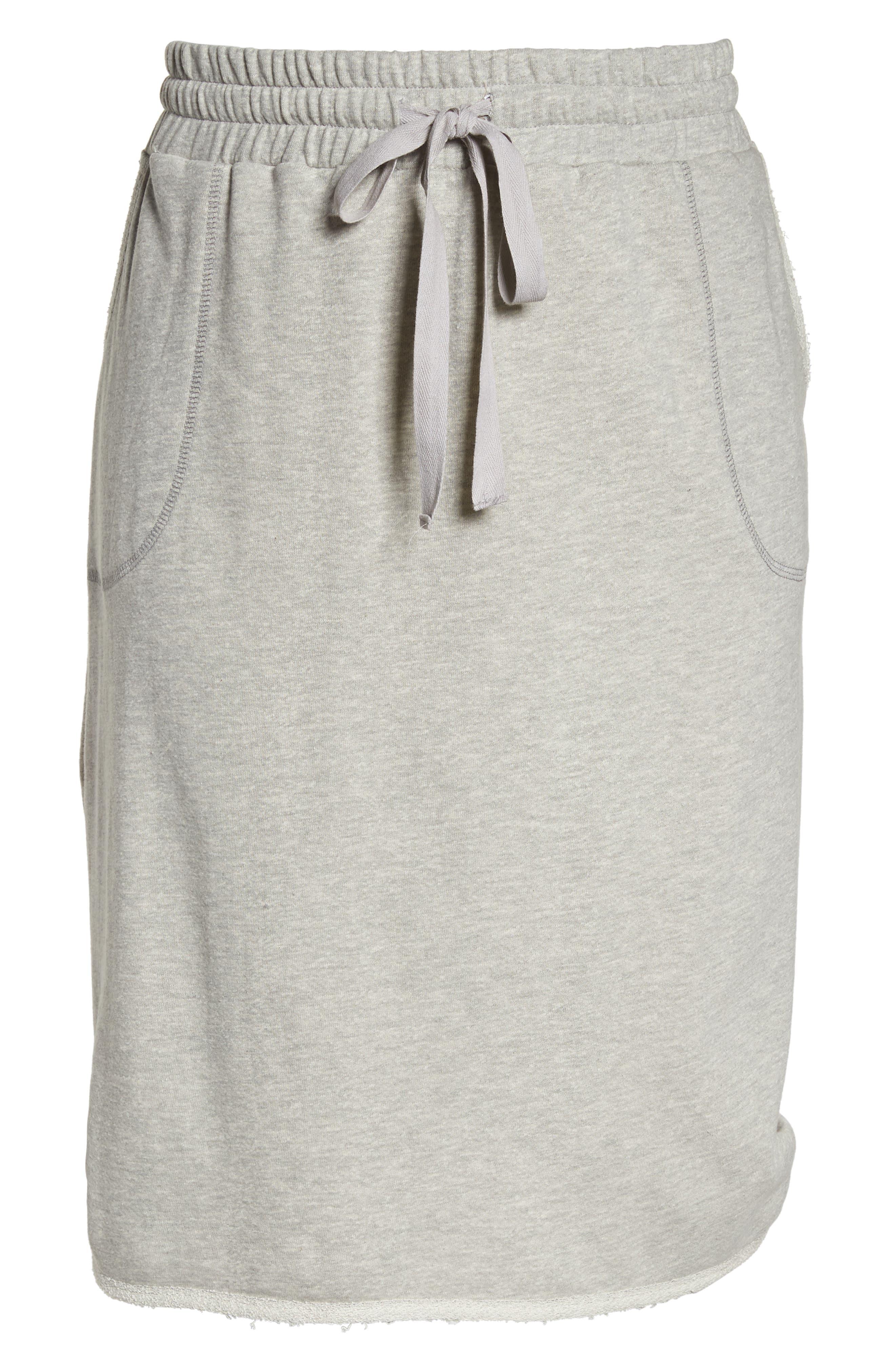 Drawstring Knit Skirt,                             Alternate thumbnail 7, color,                             Grey Heather