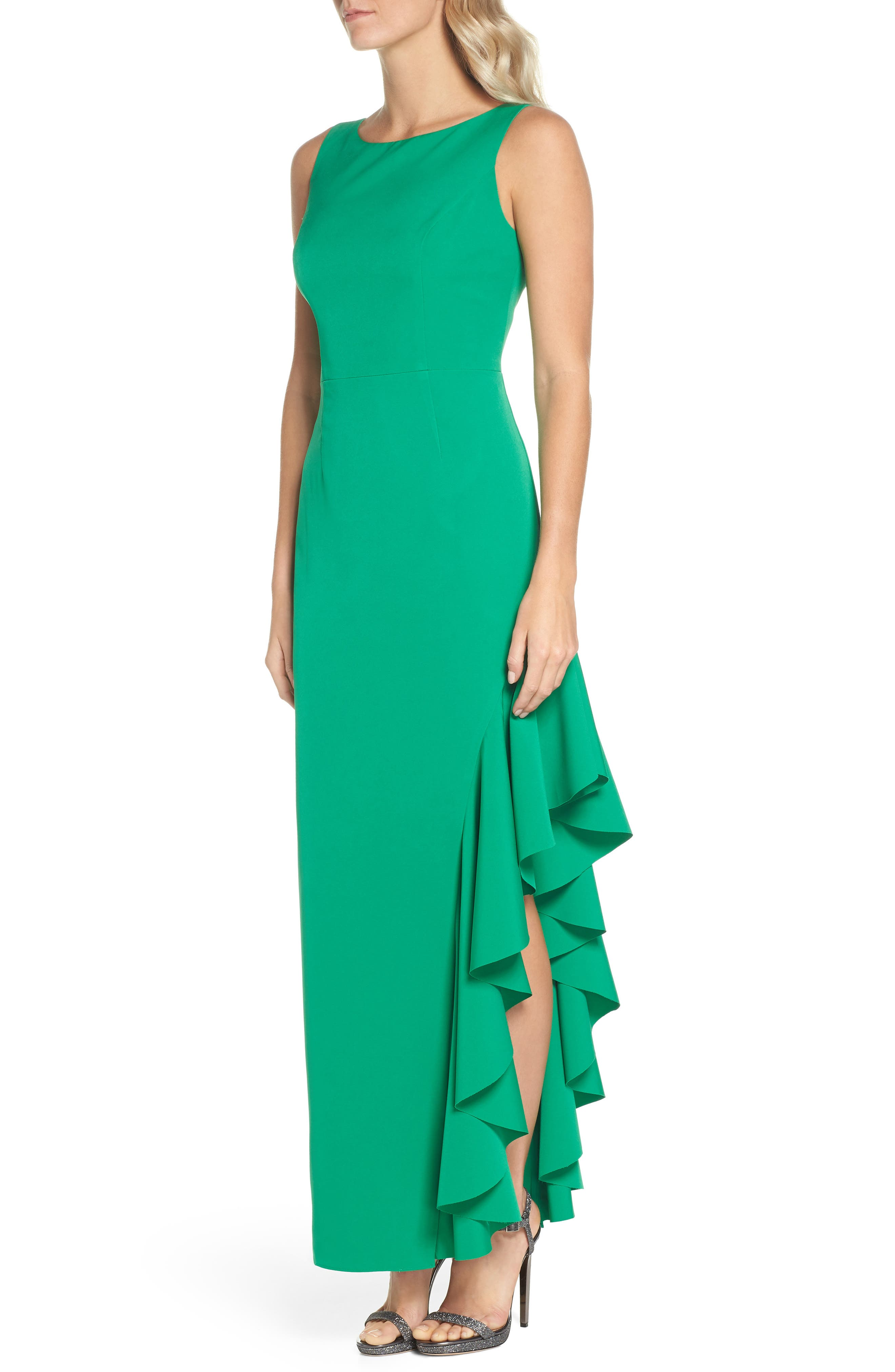 Ruffle Gown,                             Alternate thumbnail 3, color,                             Green