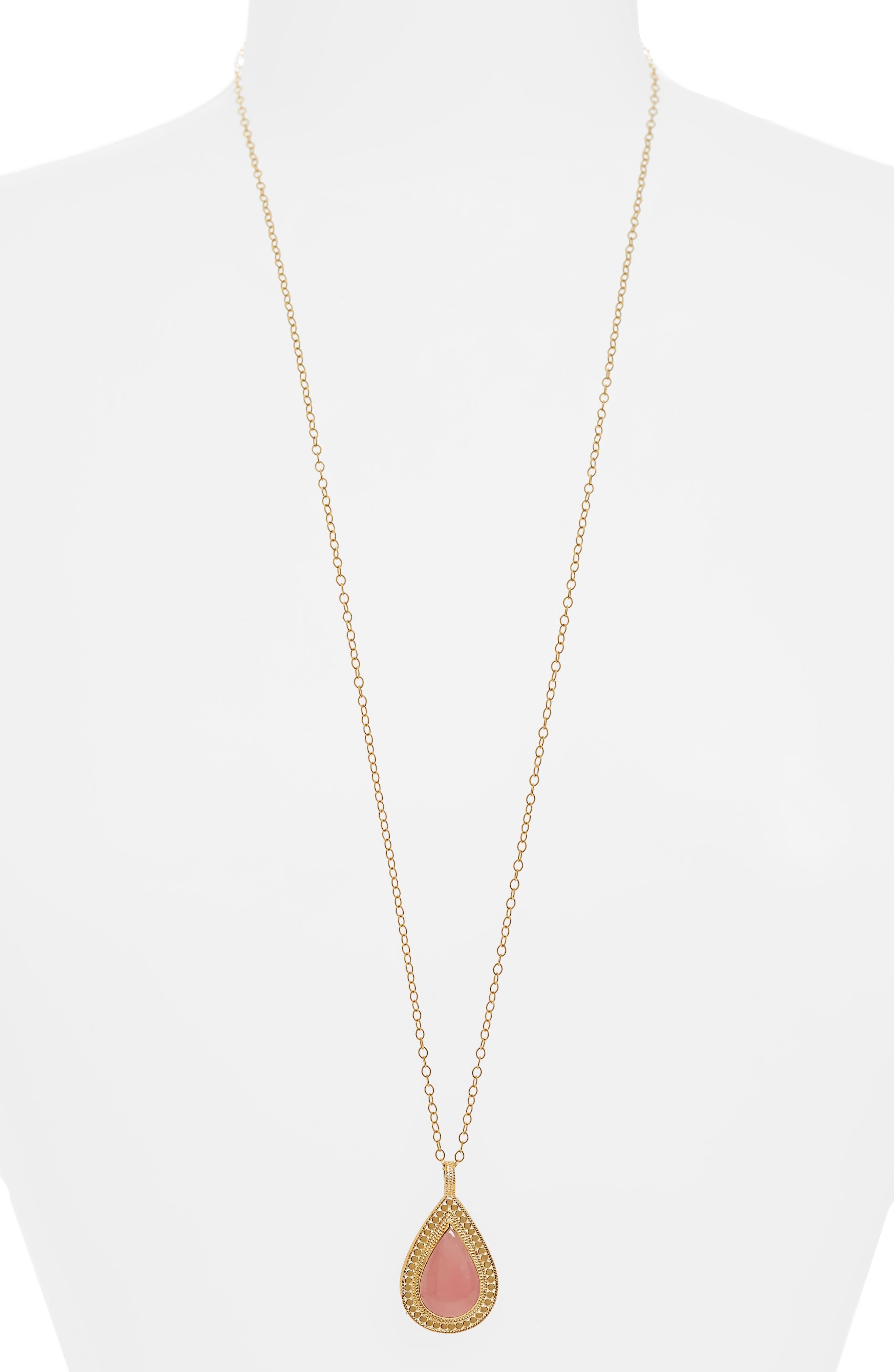 Guava Quartz Double-Sided Necklace,                         Main,                         color, Gold/ Guava Quartz