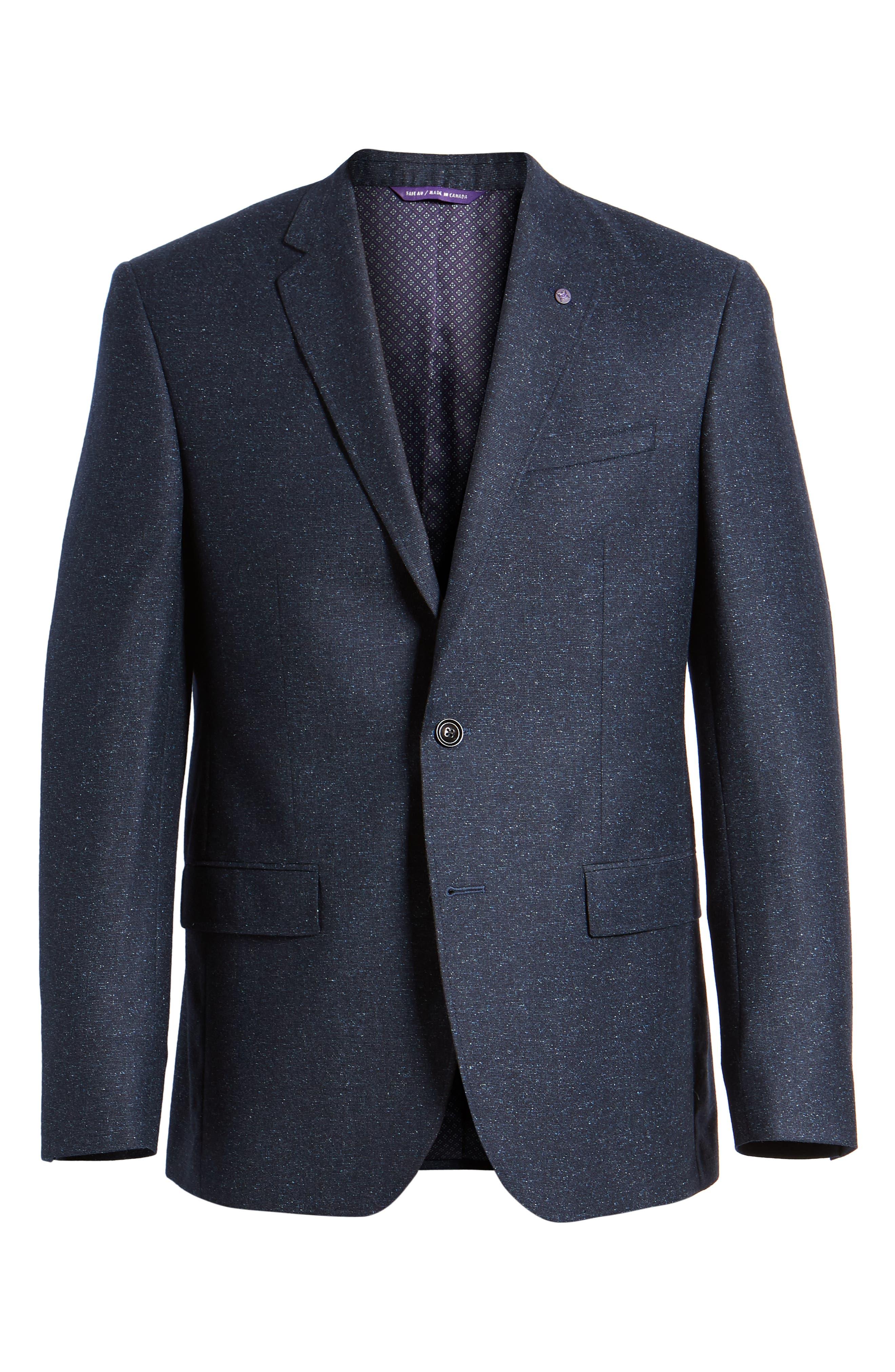 Jay Trim Fit Tweed Wool & Silk Sport Coat,                             Alternate thumbnail 6, color,                             Blue