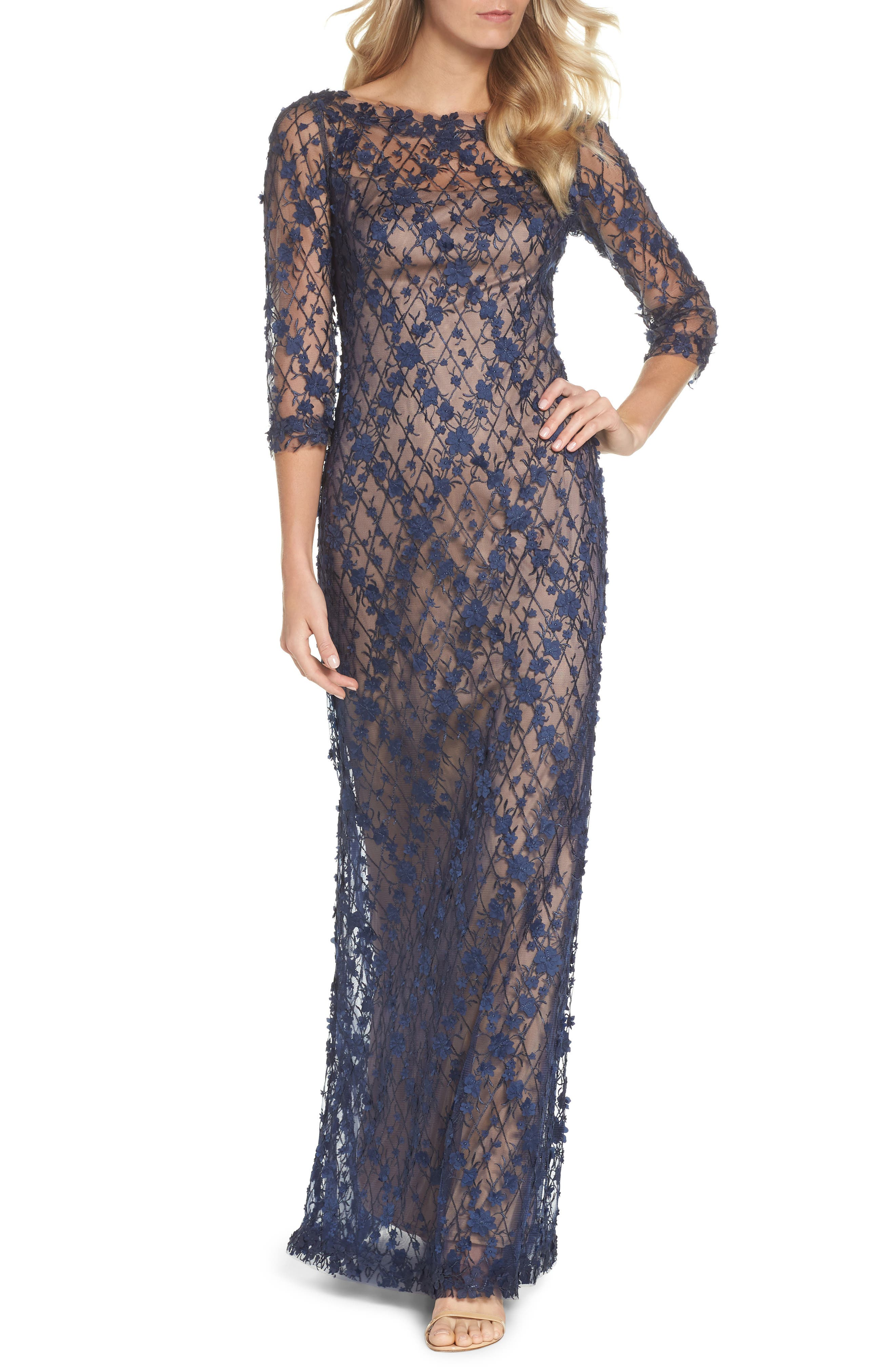 Diamond Mesh Gown,                         Main,                         color, Midnight/ Nude