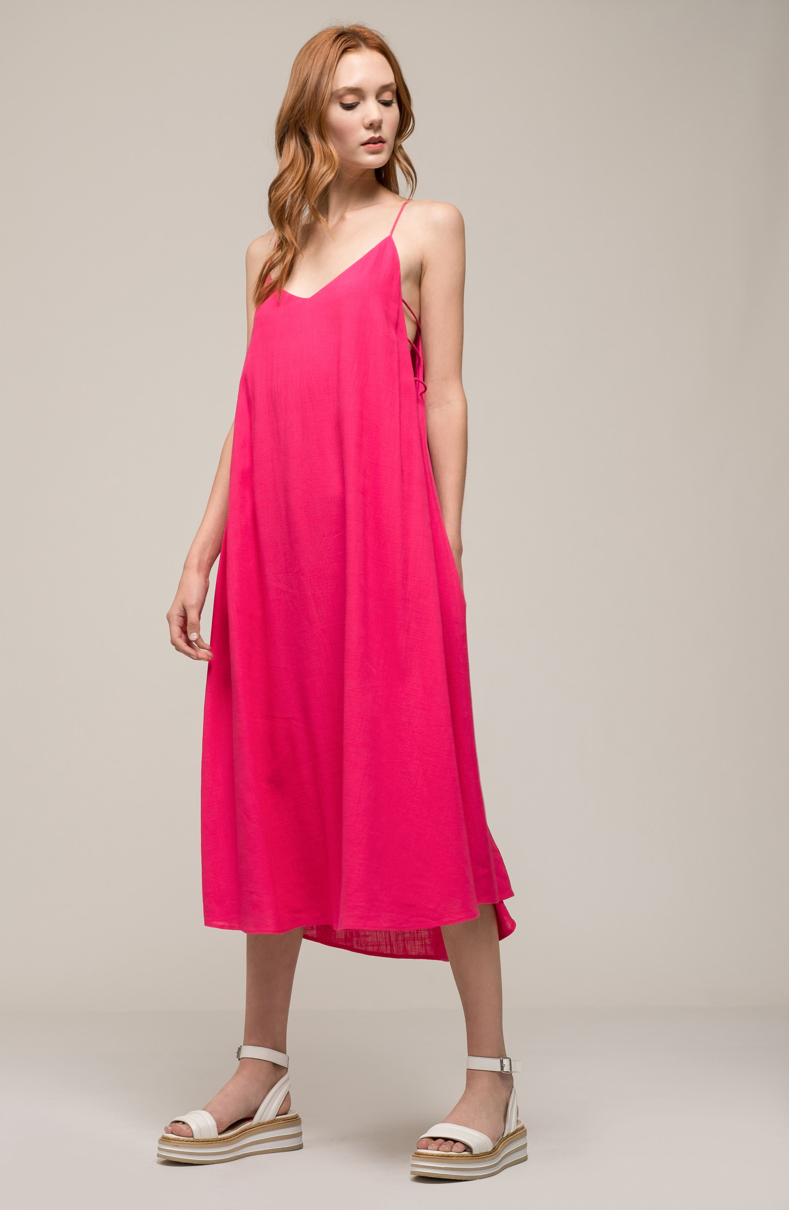 Trapeze Dress,                             Alternate thumbnail 2, color,                             Fuchsia