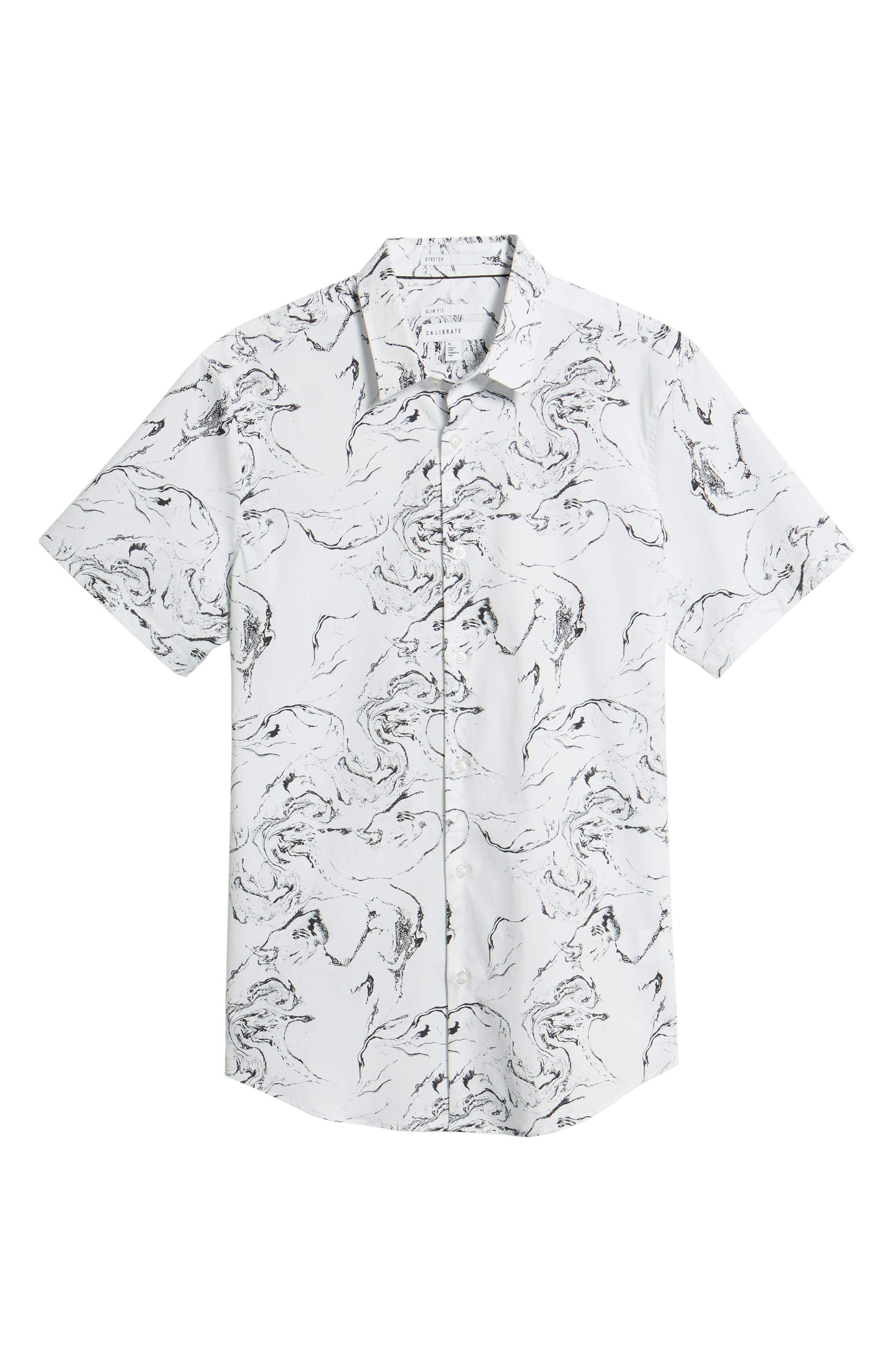 Trim Fit Stretch Print Short Sleeve Sport Shirt,                             Alternate thumbnail 6, color,                             White Marble Print