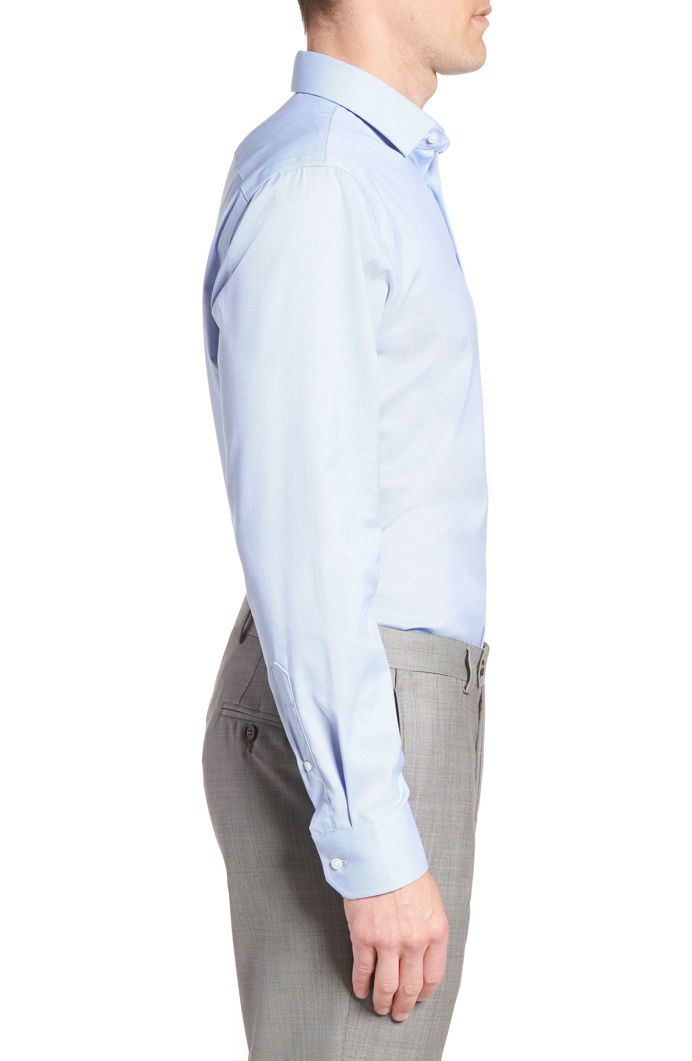 Trim Fit Non-Iron Stretch Dress Shirt,                             Alternate thumbnail 4, color,                             Blue Azurite