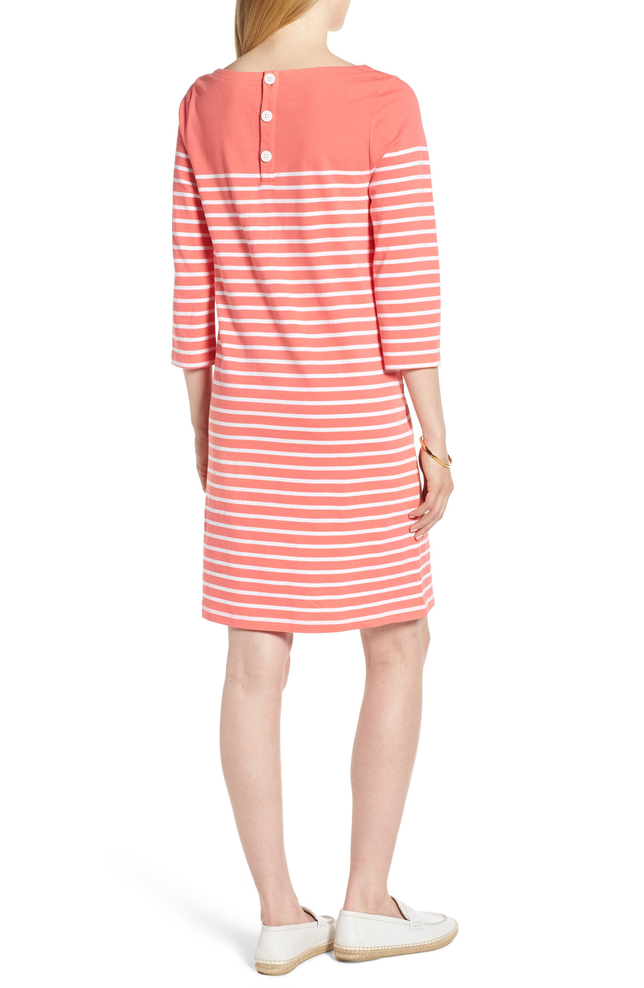 Stripe Cotton Knit Shift Dress,                             Alternate thumbnail 2, color,                             Coral- White Stripe
