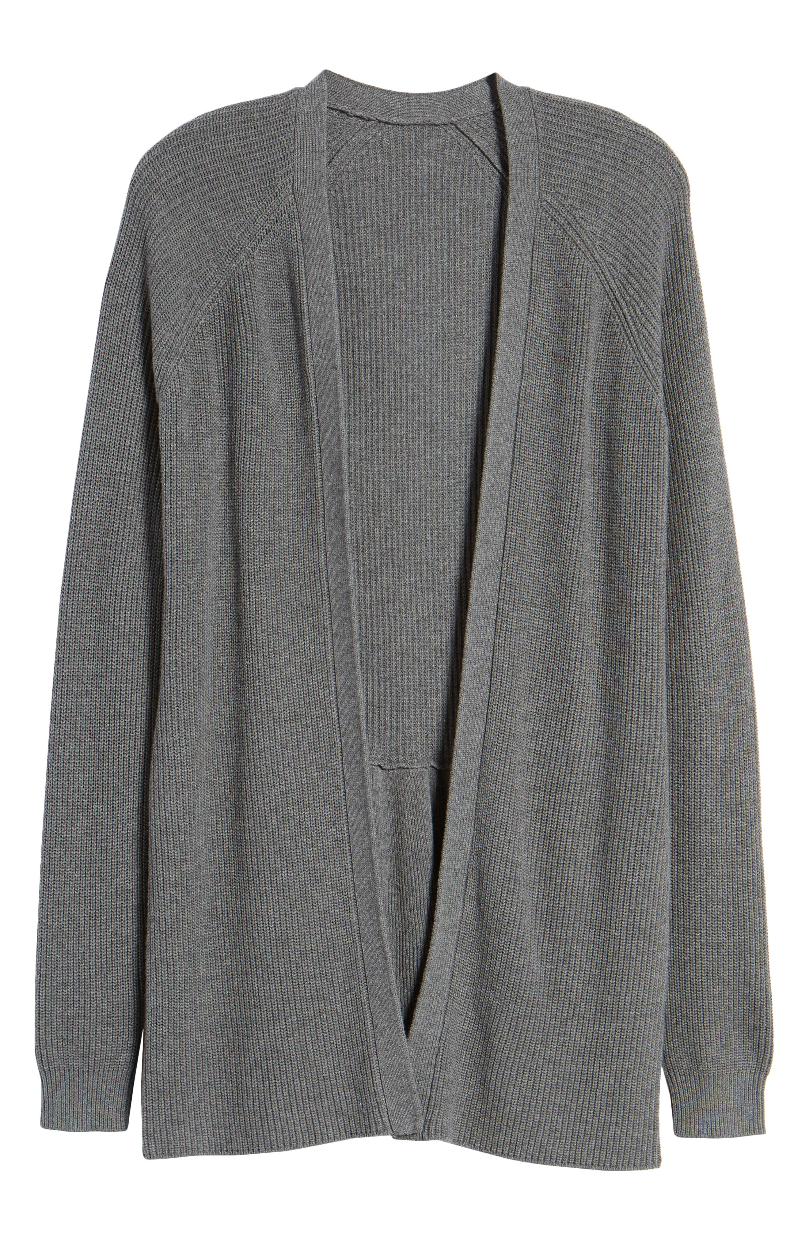 Ruffle Cardigan,                             Alternate thumbnail 7, color,                             Grey Dark Heather