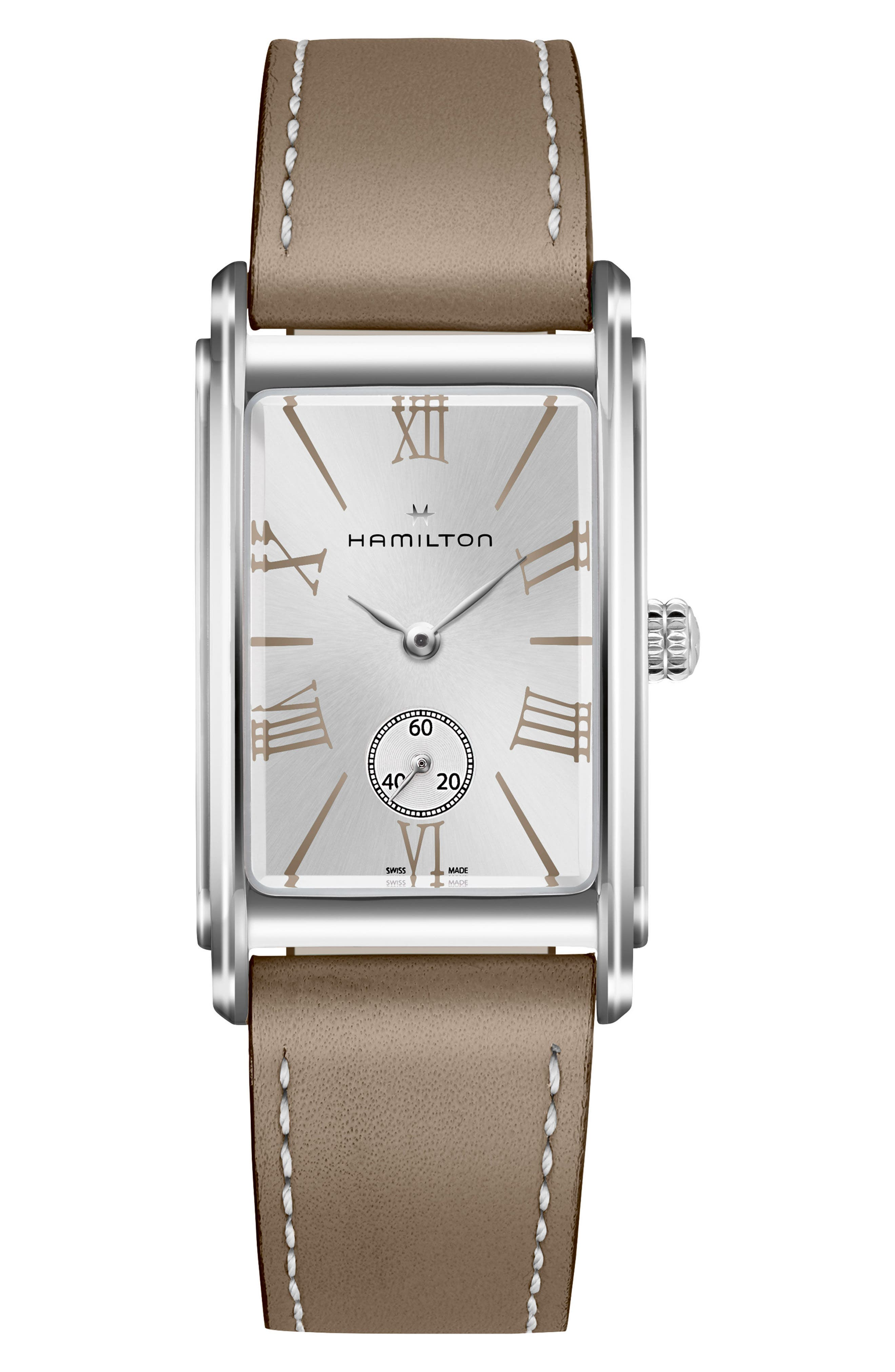 HAMILTON ARDMORE LEATHER STRAP WATCH, 23MM X 32MM