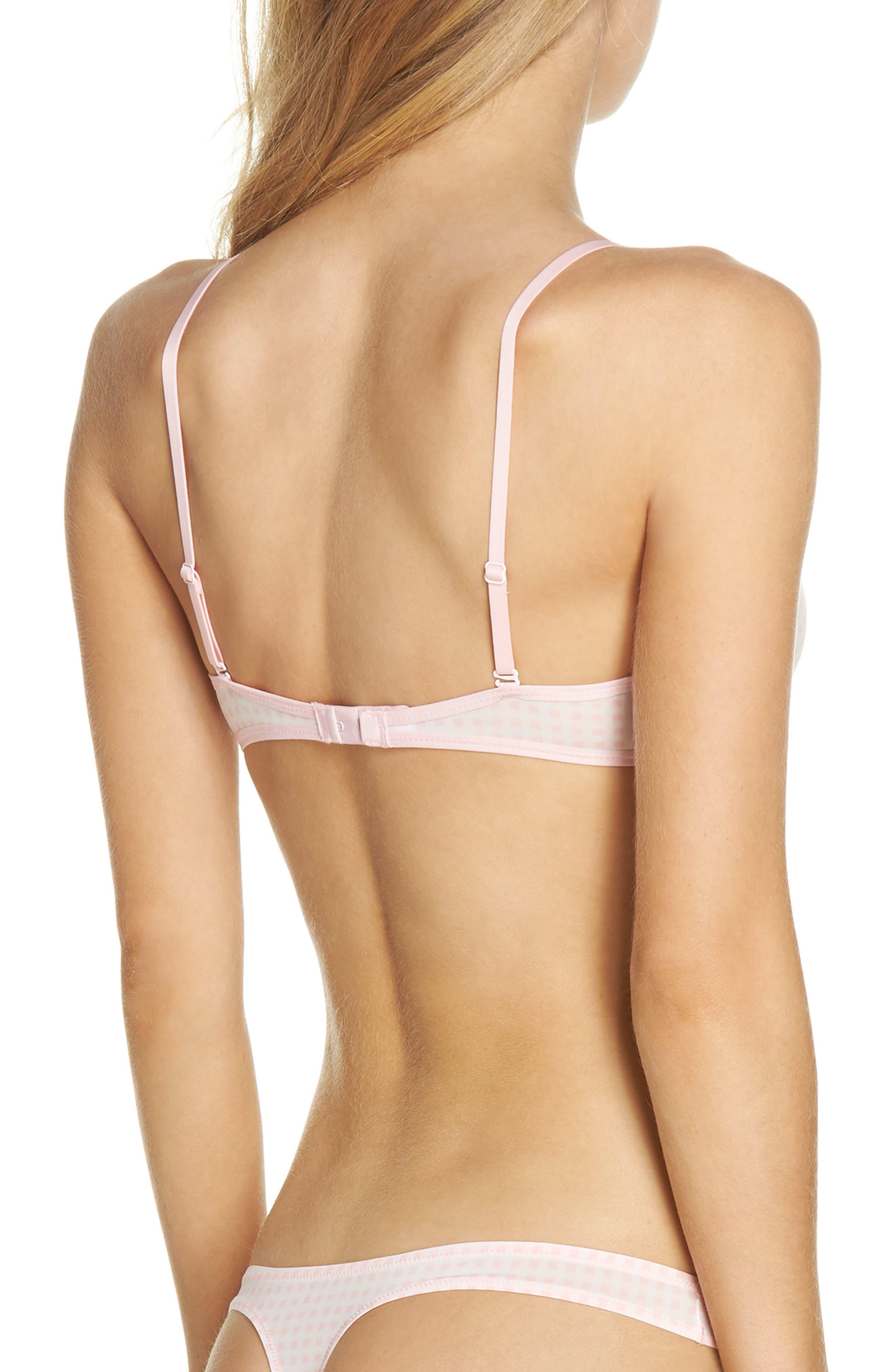 Gingham Bralette,                             Alternate thumbnail 2, color,                             Warm Pink White
