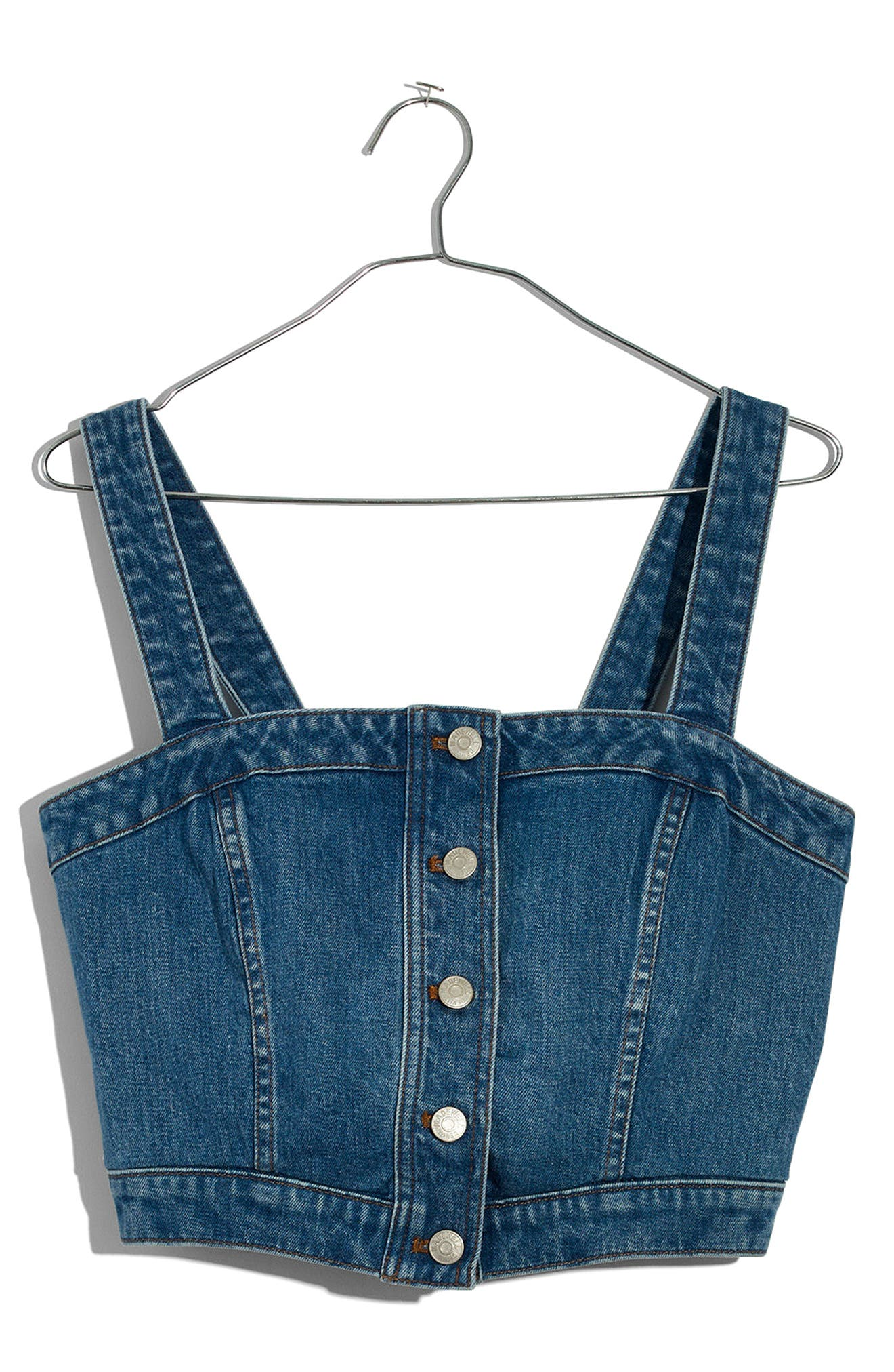 Denim Button Front Crop Top,                             Alternate thumbnail 4, color,                             Dumont Wash